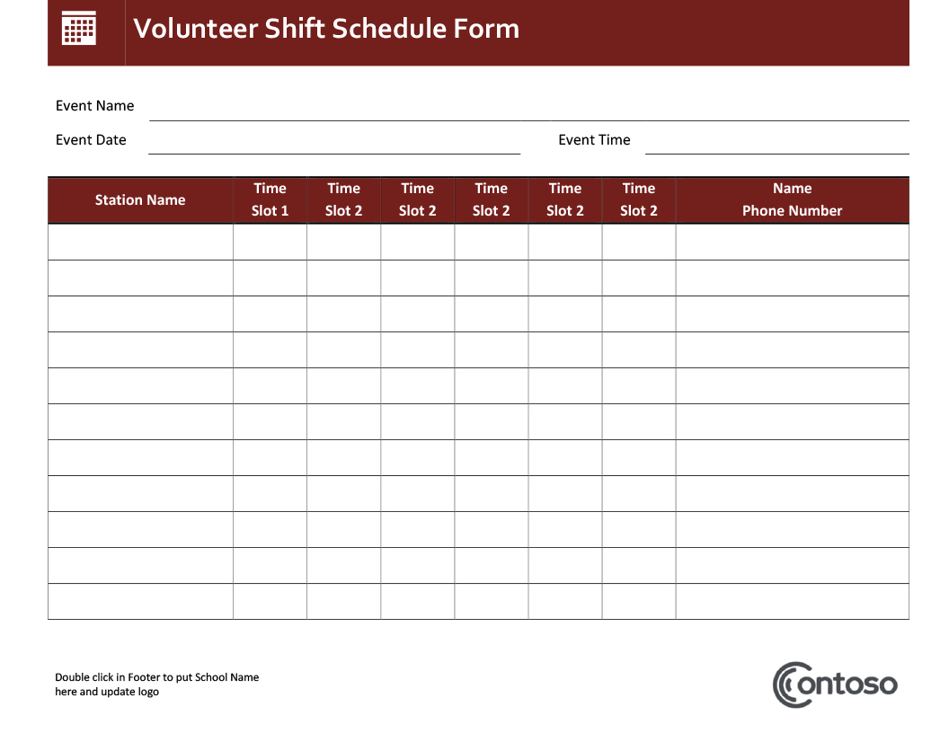 Event Schedule In Yearly Schedule Of Events Template