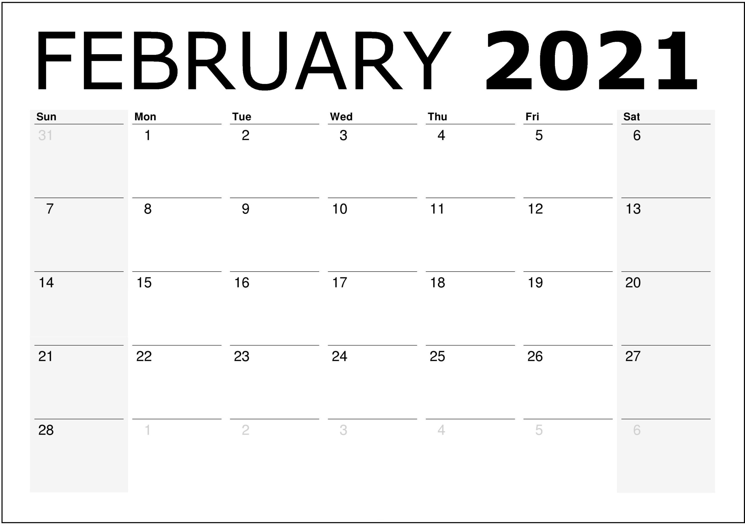 February 2021 Calendar Printable  February 2021 Editable Calendar With Holidays  2021