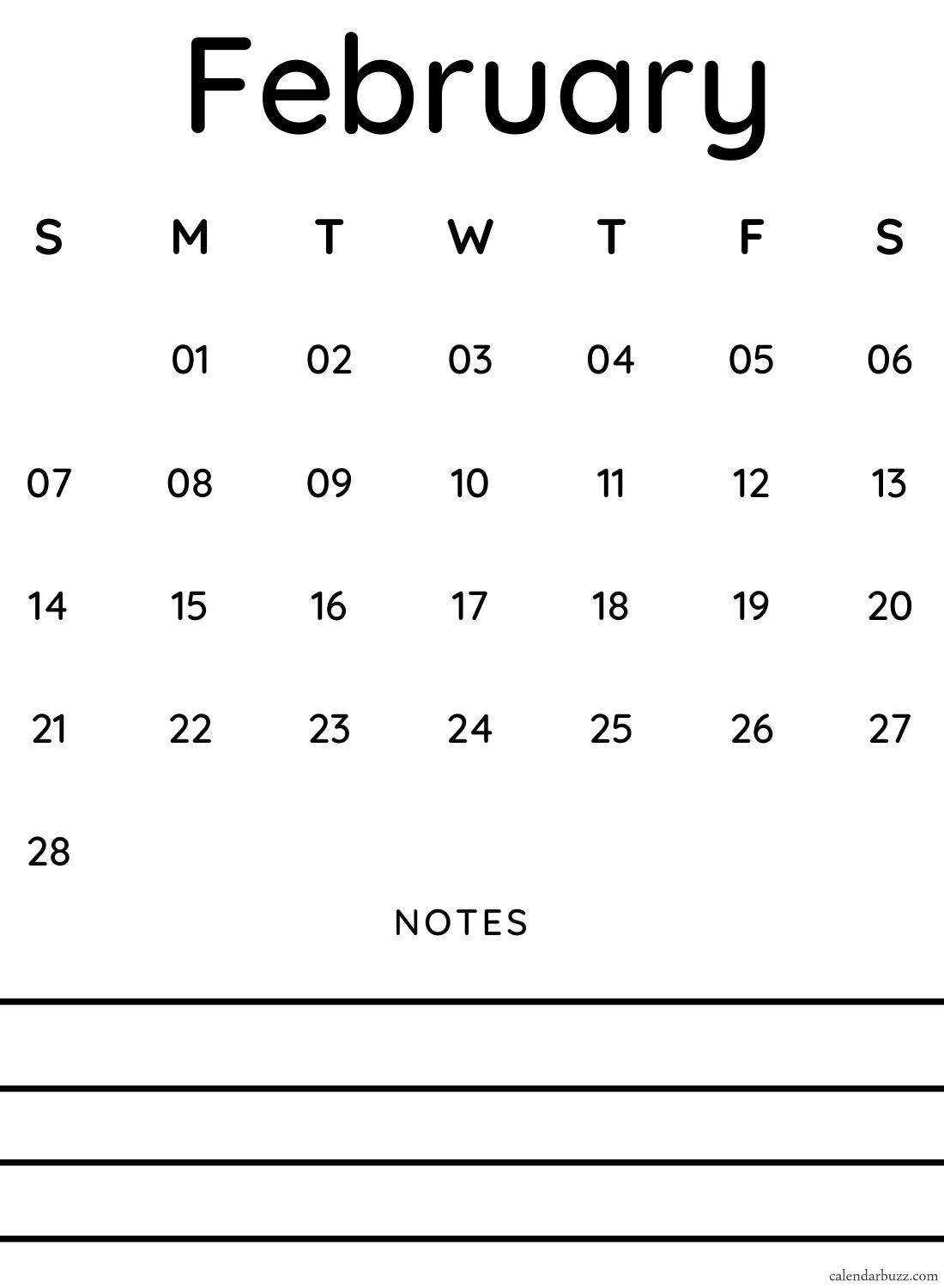 February 2021 Calendar With Notes Free Download | Calendarbuzz