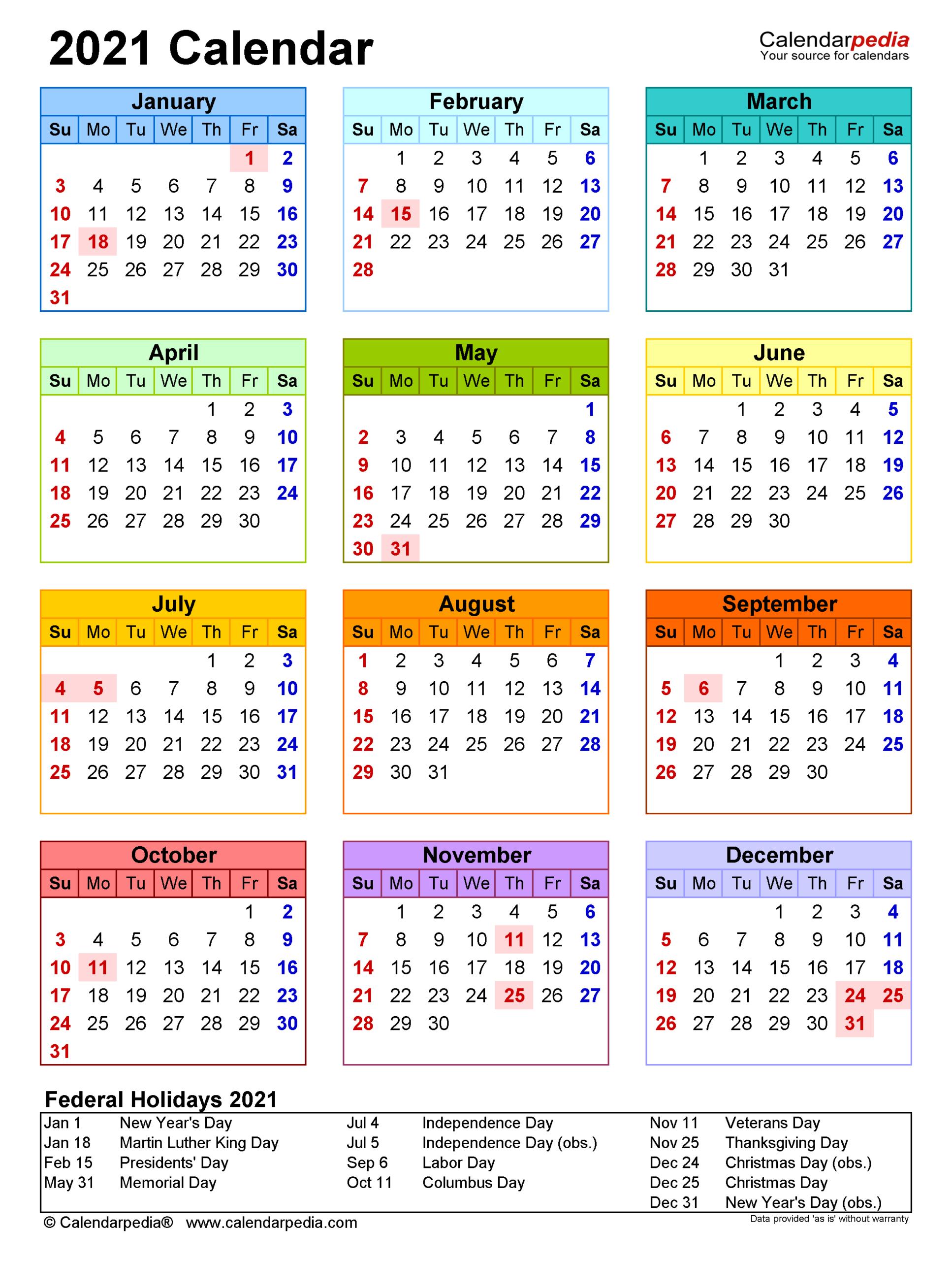 Federal Reserve 2021 Printable Calendar   Printable