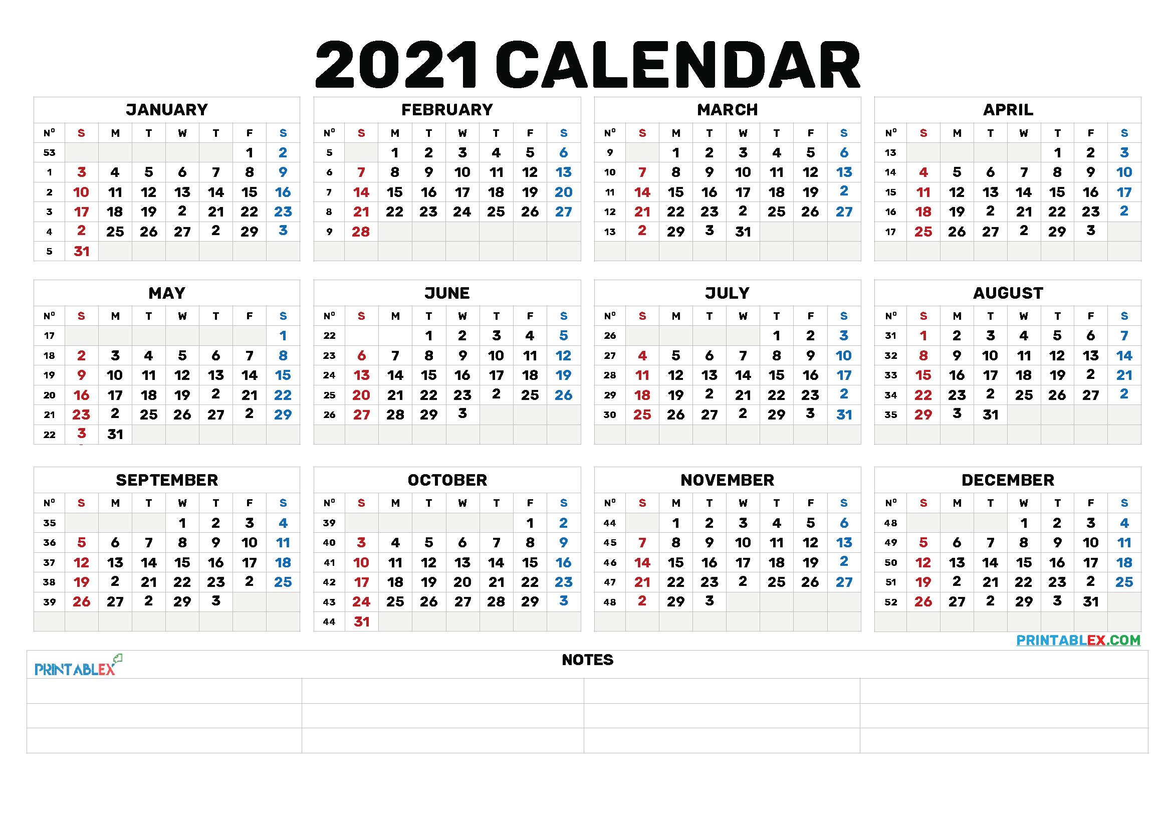 Fill In Yearly Calendar 2021   Calendar Template Printable