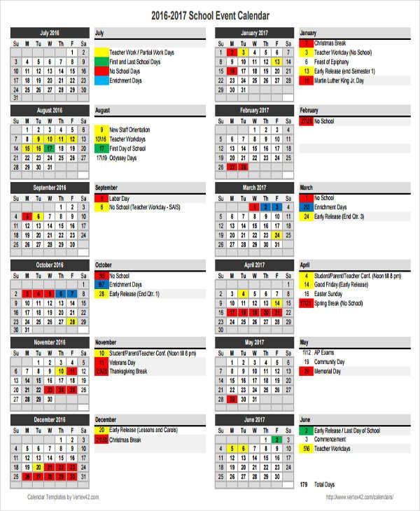 Free 17+ School Calendar Templates In Ms Word | Pdf