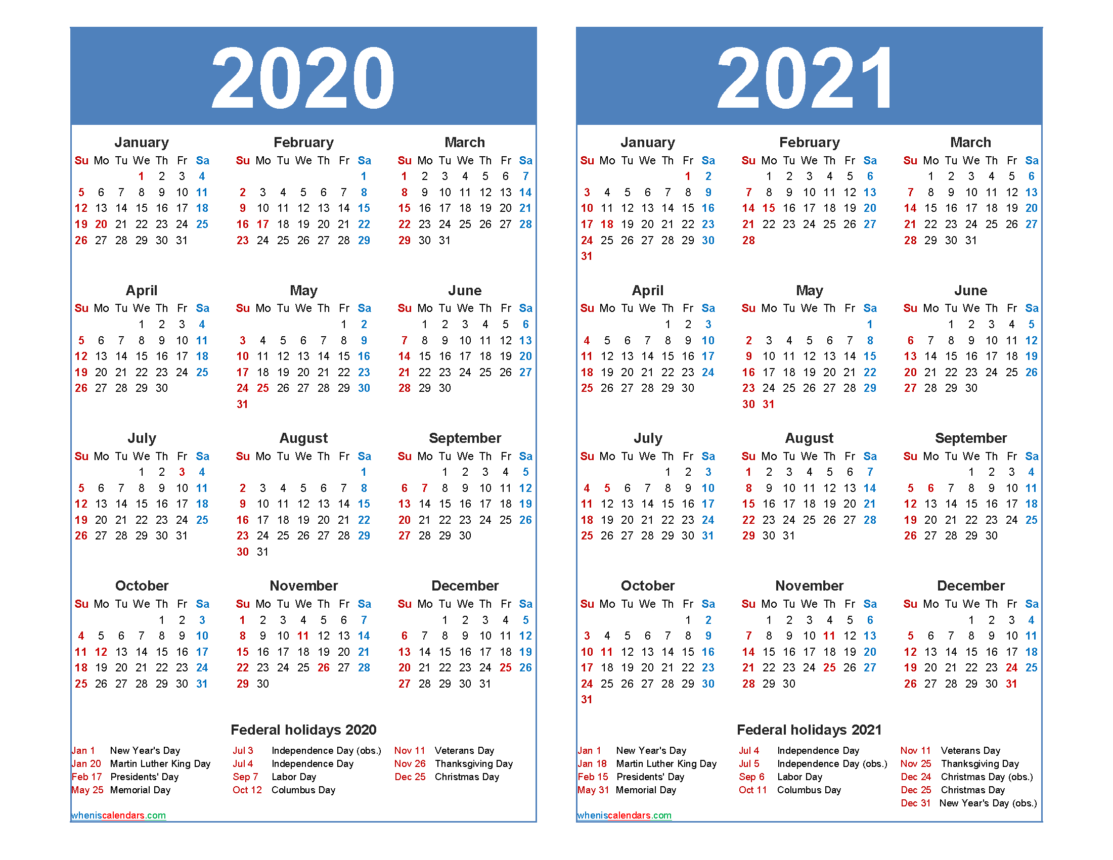 Free 2020 2021 Calendar Printable With Holidays - Free