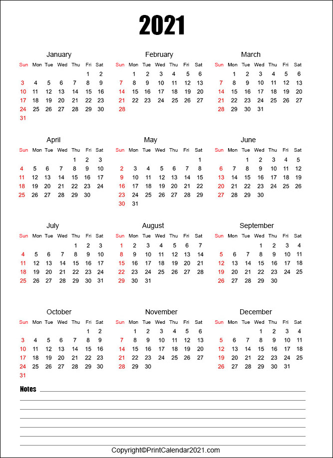 Free 2021 Calendar With Notes
