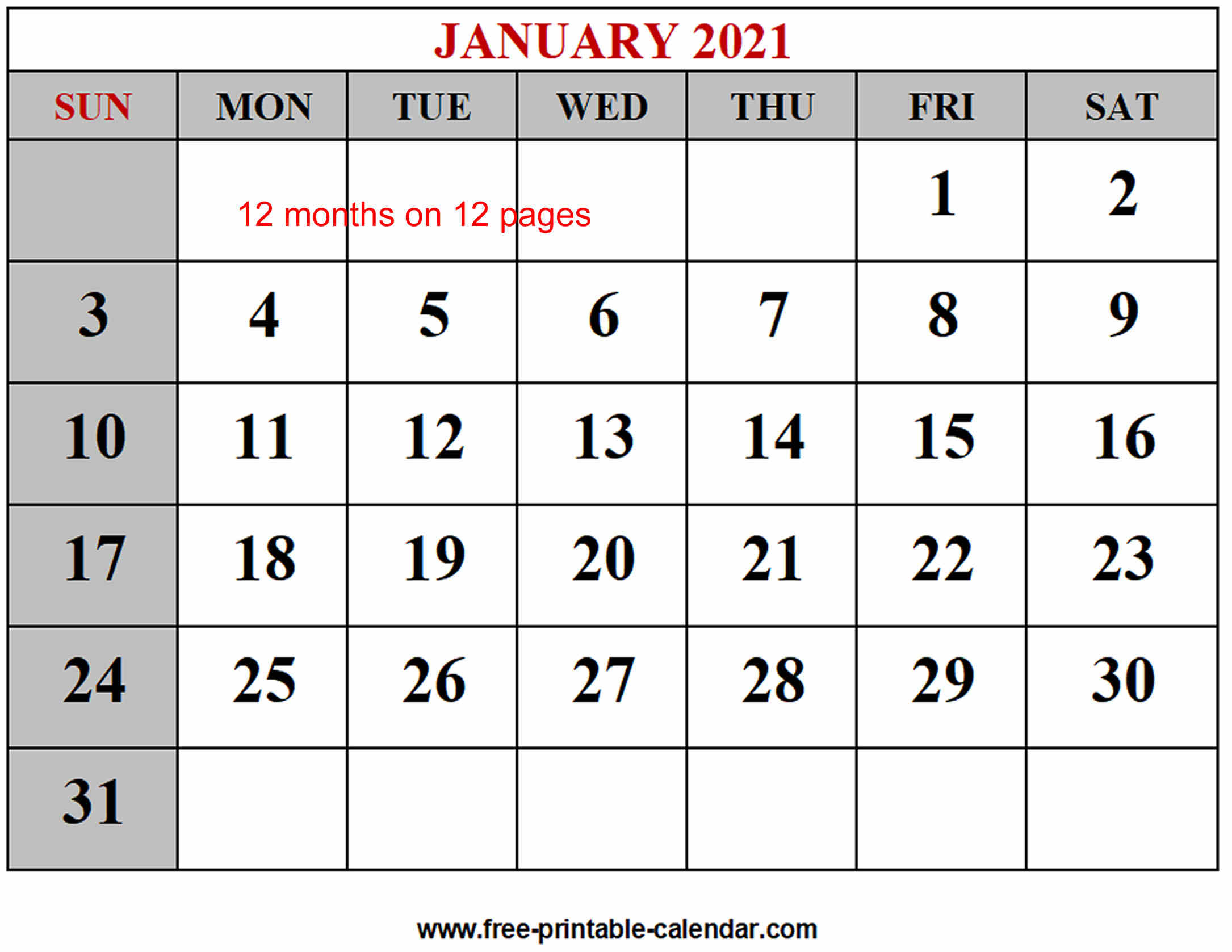 Free 2021 Yearly Calender Template  Free Printable Year