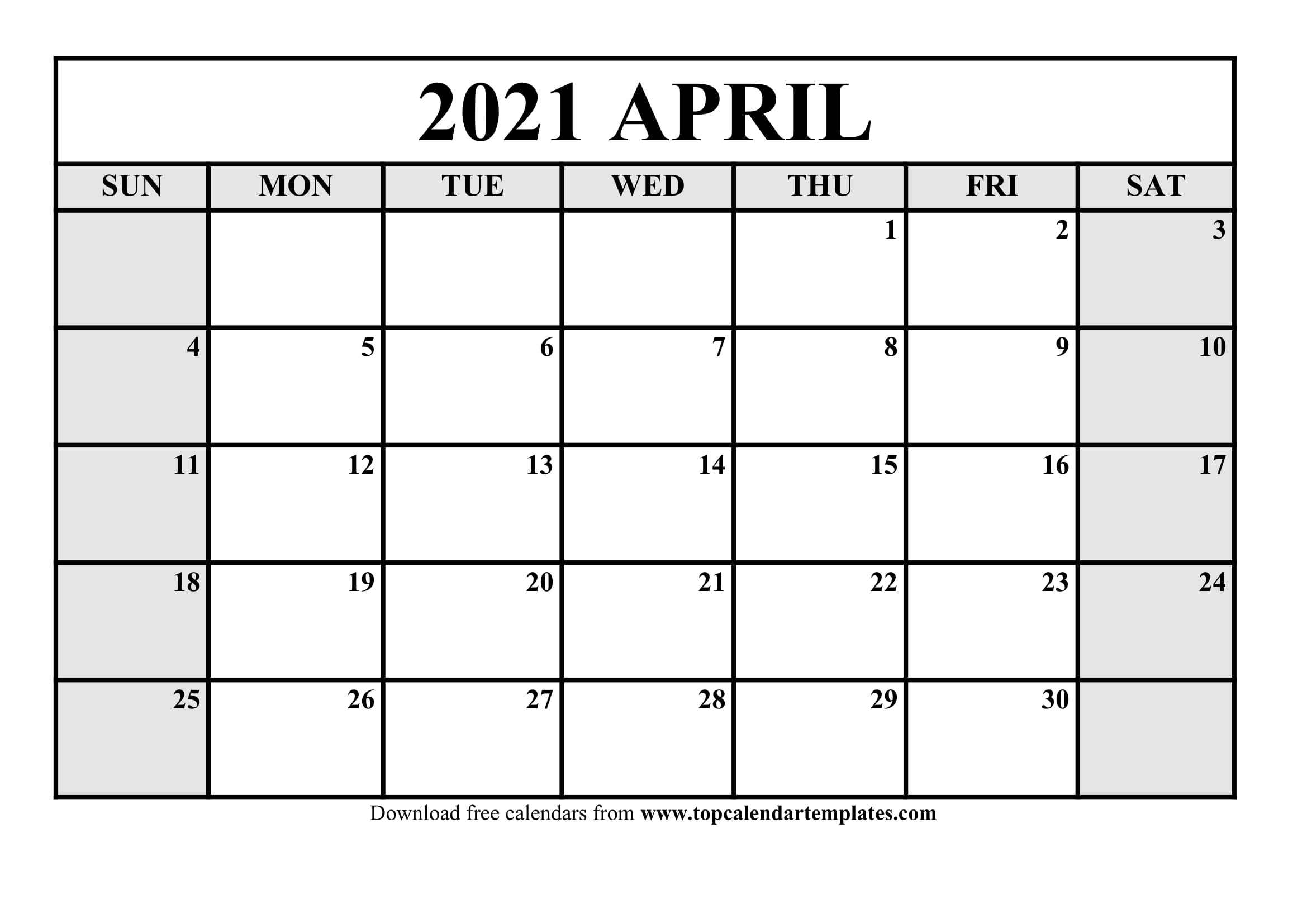 Free April 2021 Calendar Printable - Monthly Template