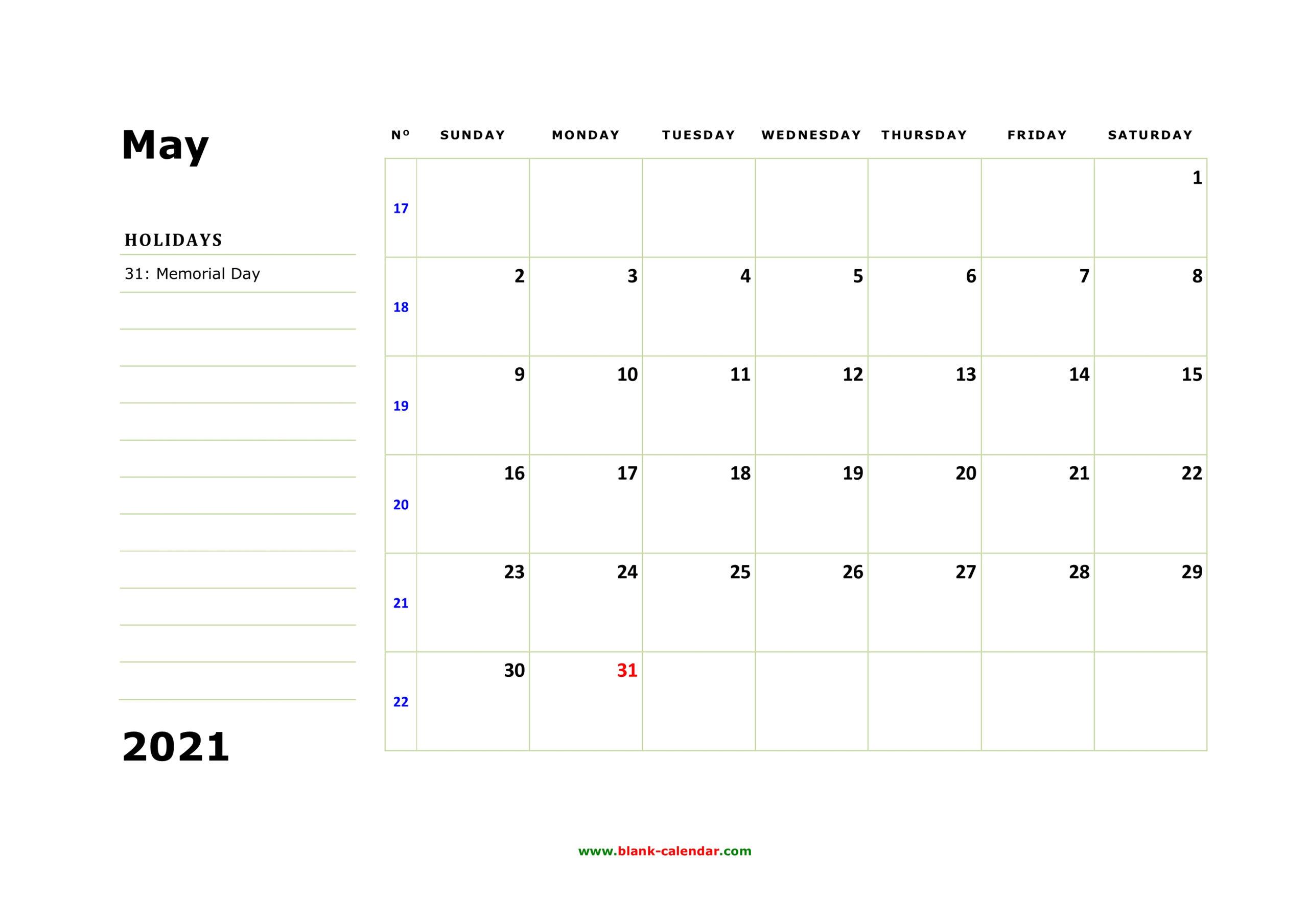 Free Download Printable May 2021 Calendar Large Box