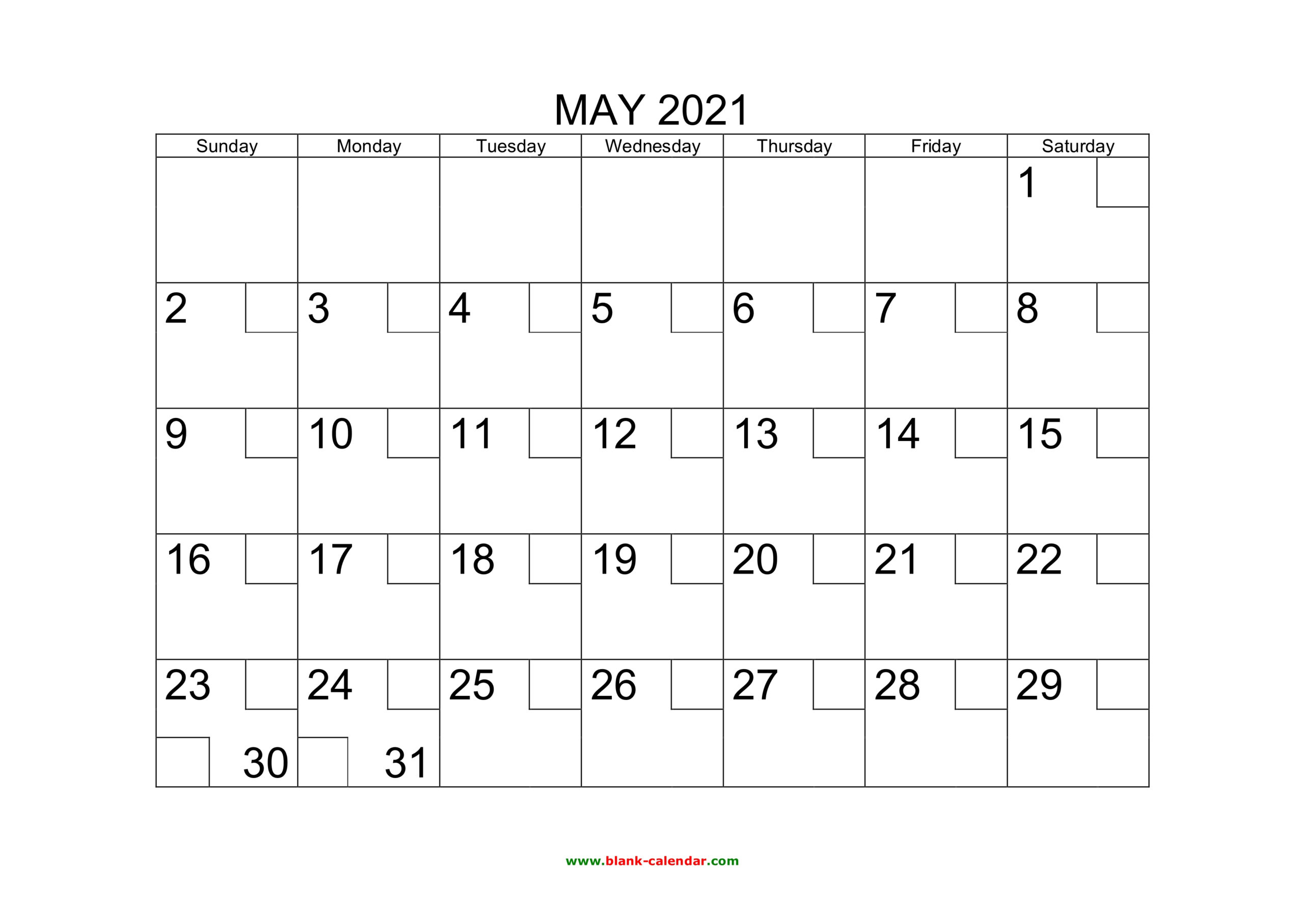 Free Download Printable May 2021 Calendar With Check Boxes