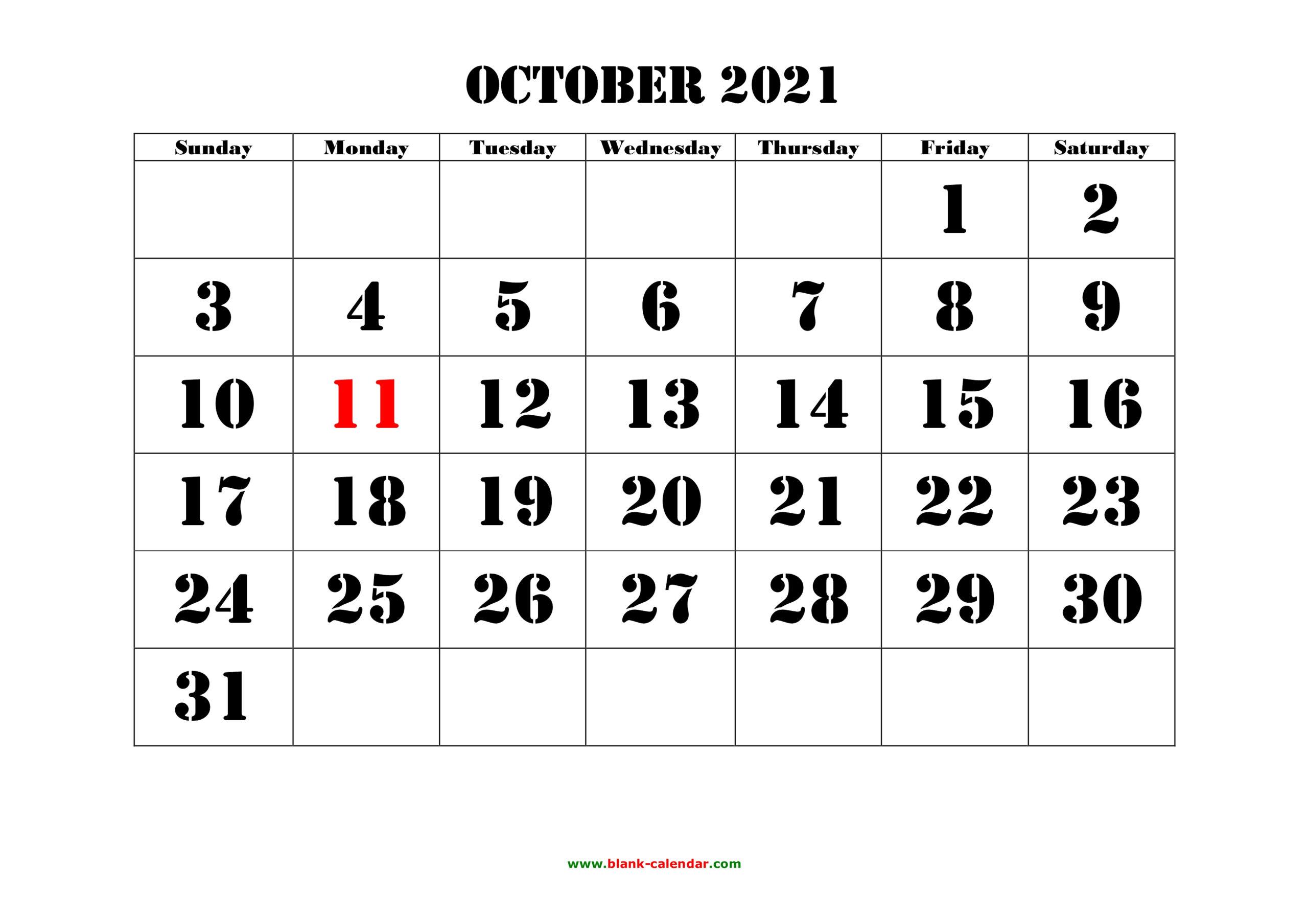 Free Download Printable October 2021 Calendar Large Font