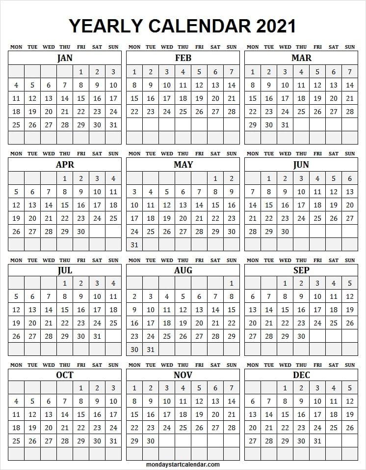 Free Downloadable 2021 Word Calendar  2021 Printable