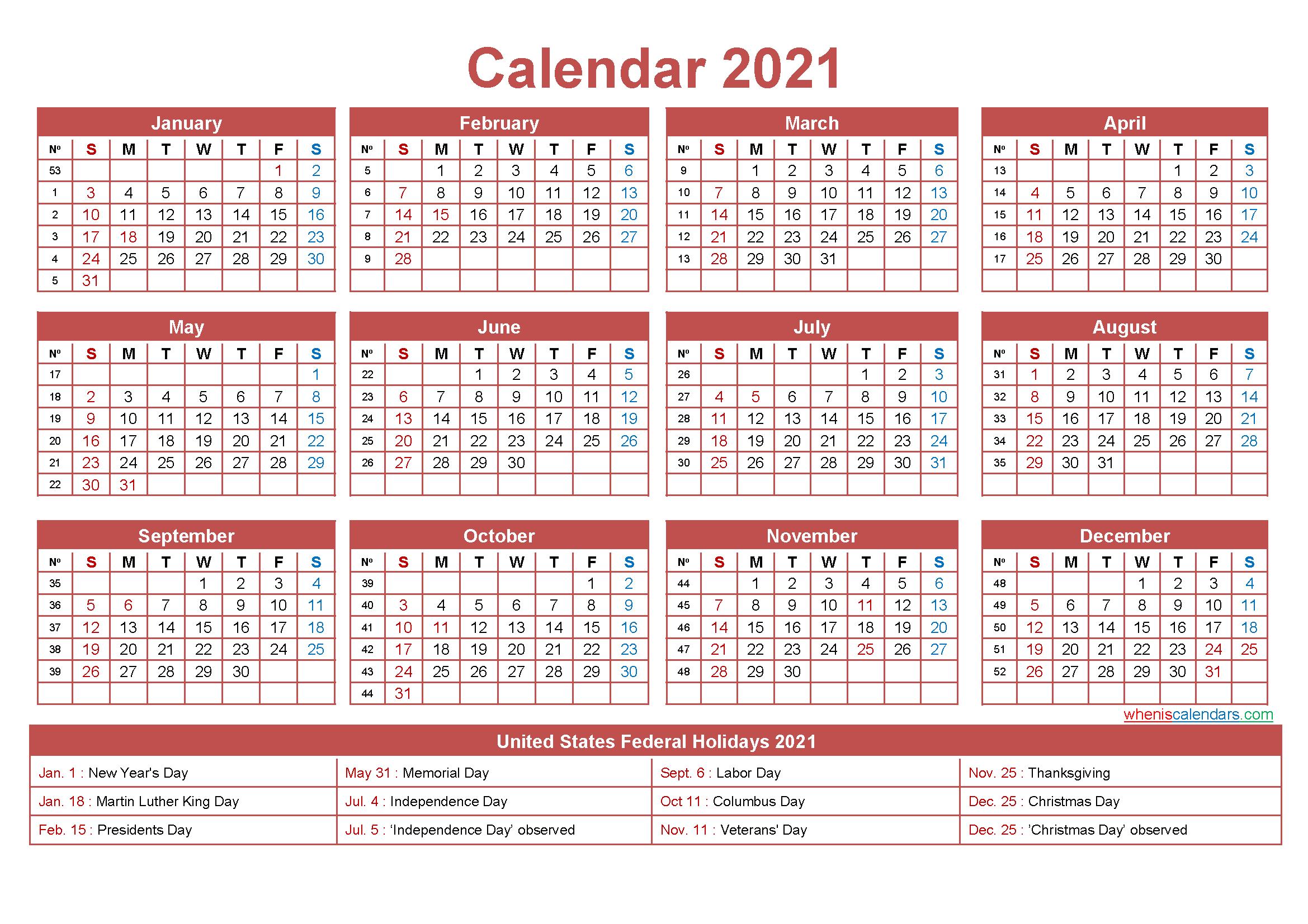 Free Editable 2021 Calendars In Word : January 2021