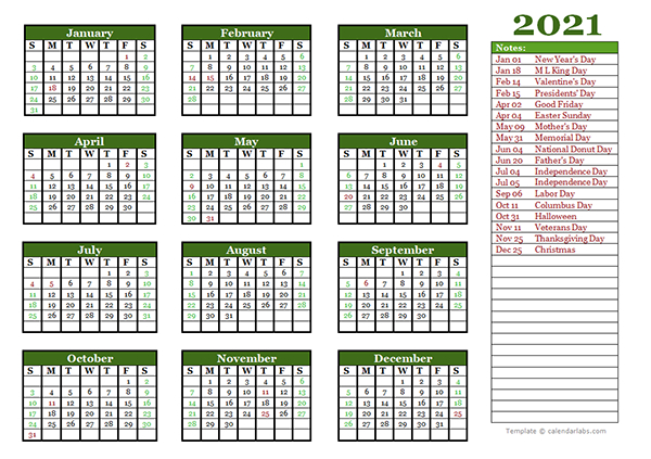Free Editable 2021 Yearly Word Calendar - Free Printable