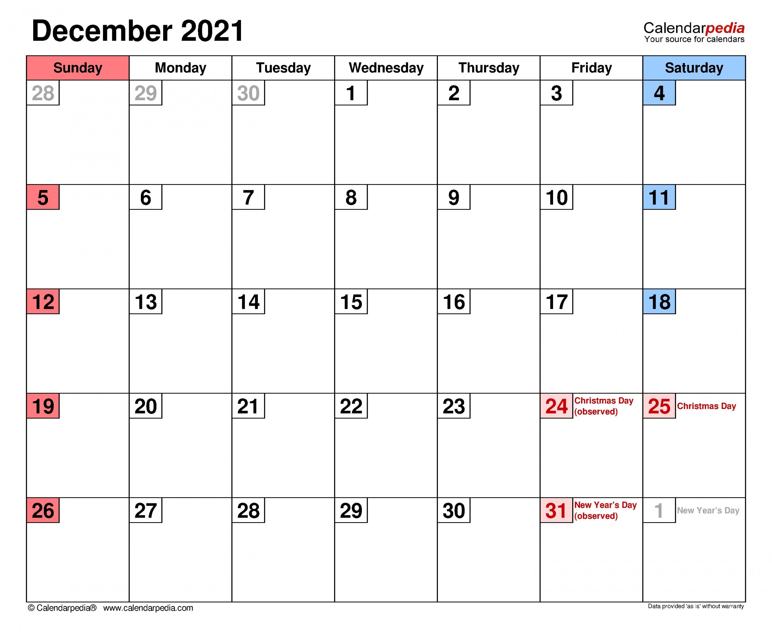 Printable December 2021 Calendar For Kids