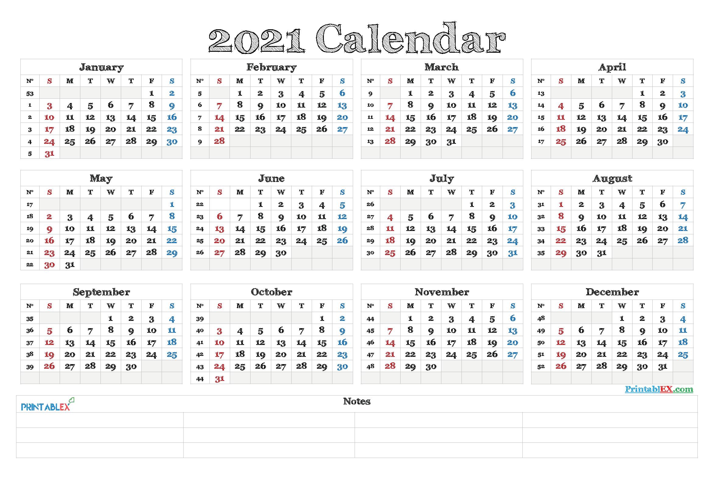 Free Editable Weekly 2021 Calendar  2021 Editable Yearly