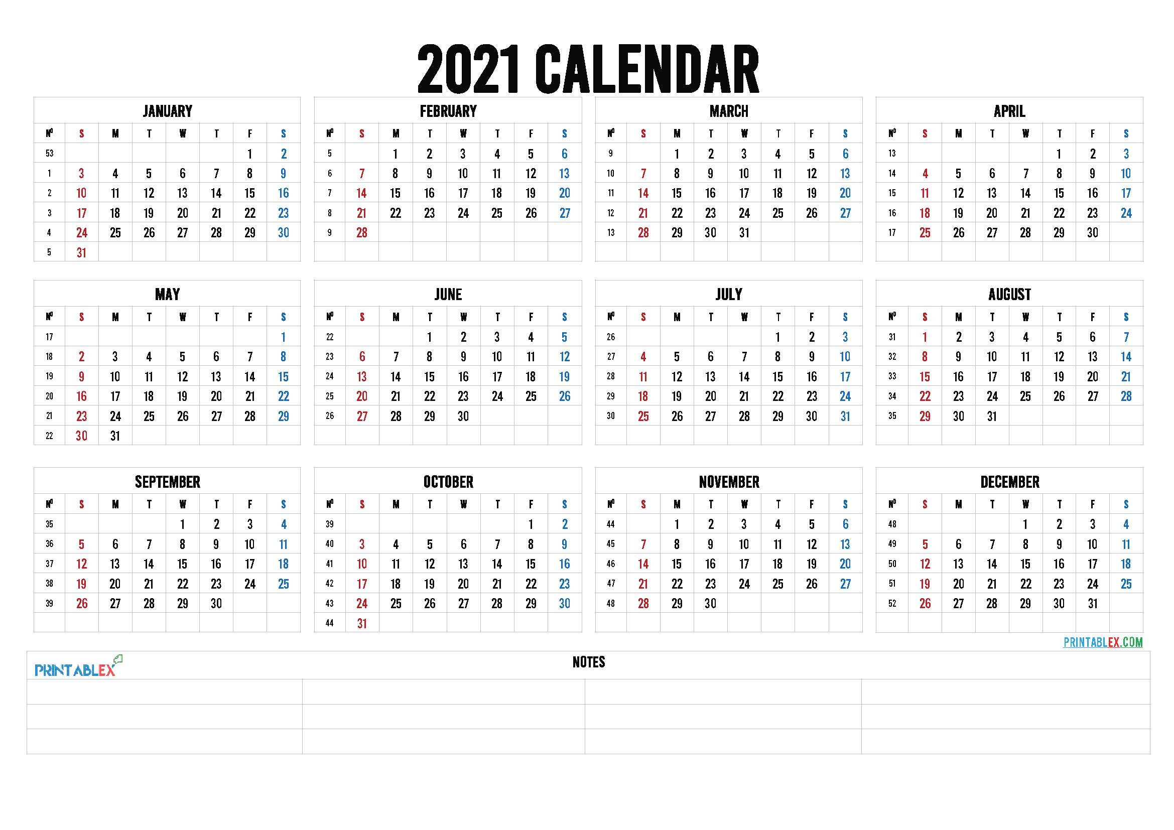 Free Editable Weekly 2021 Calendar : Custom Editable 2021