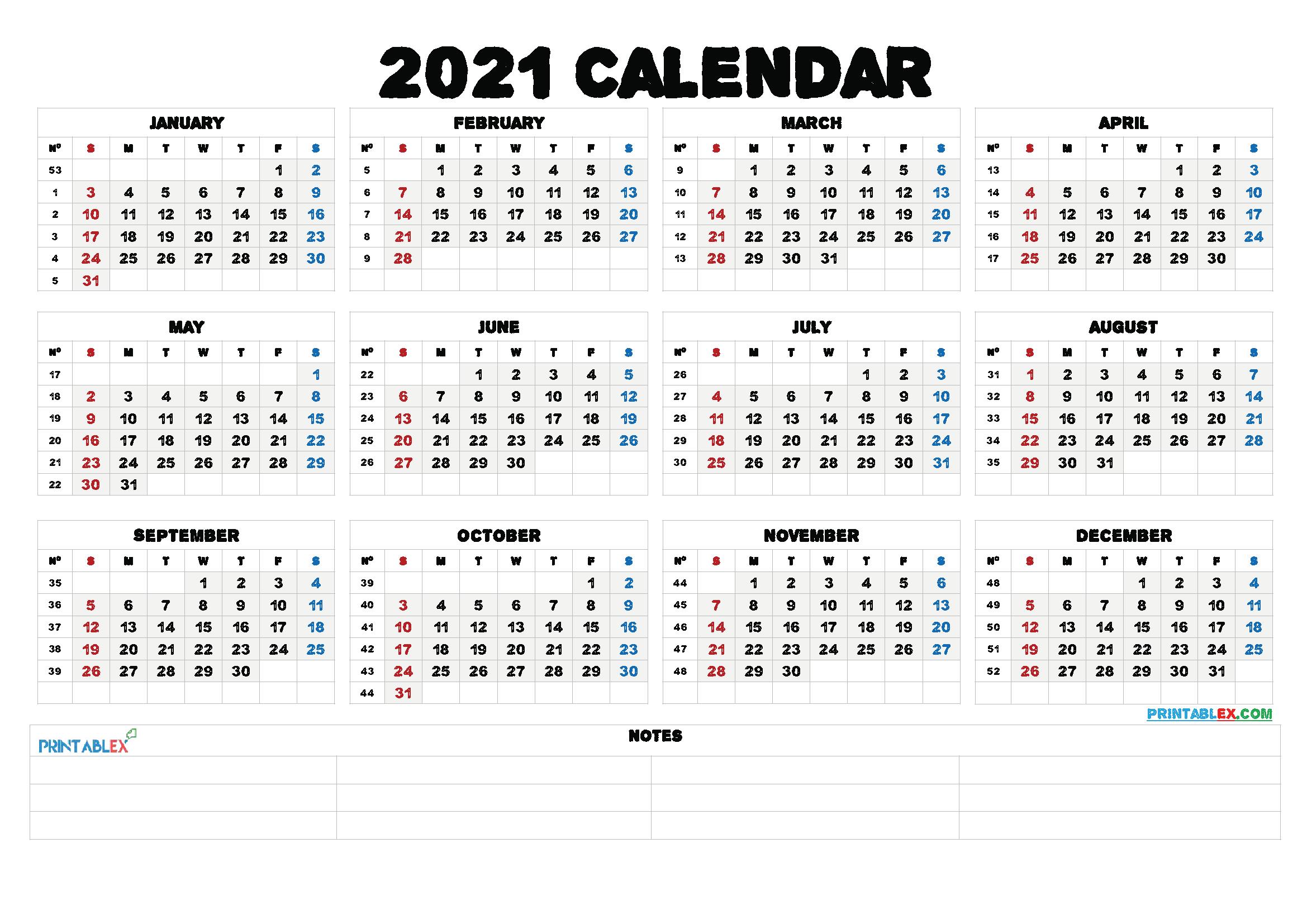 2021 Free Printable Editable Monthly Calendar