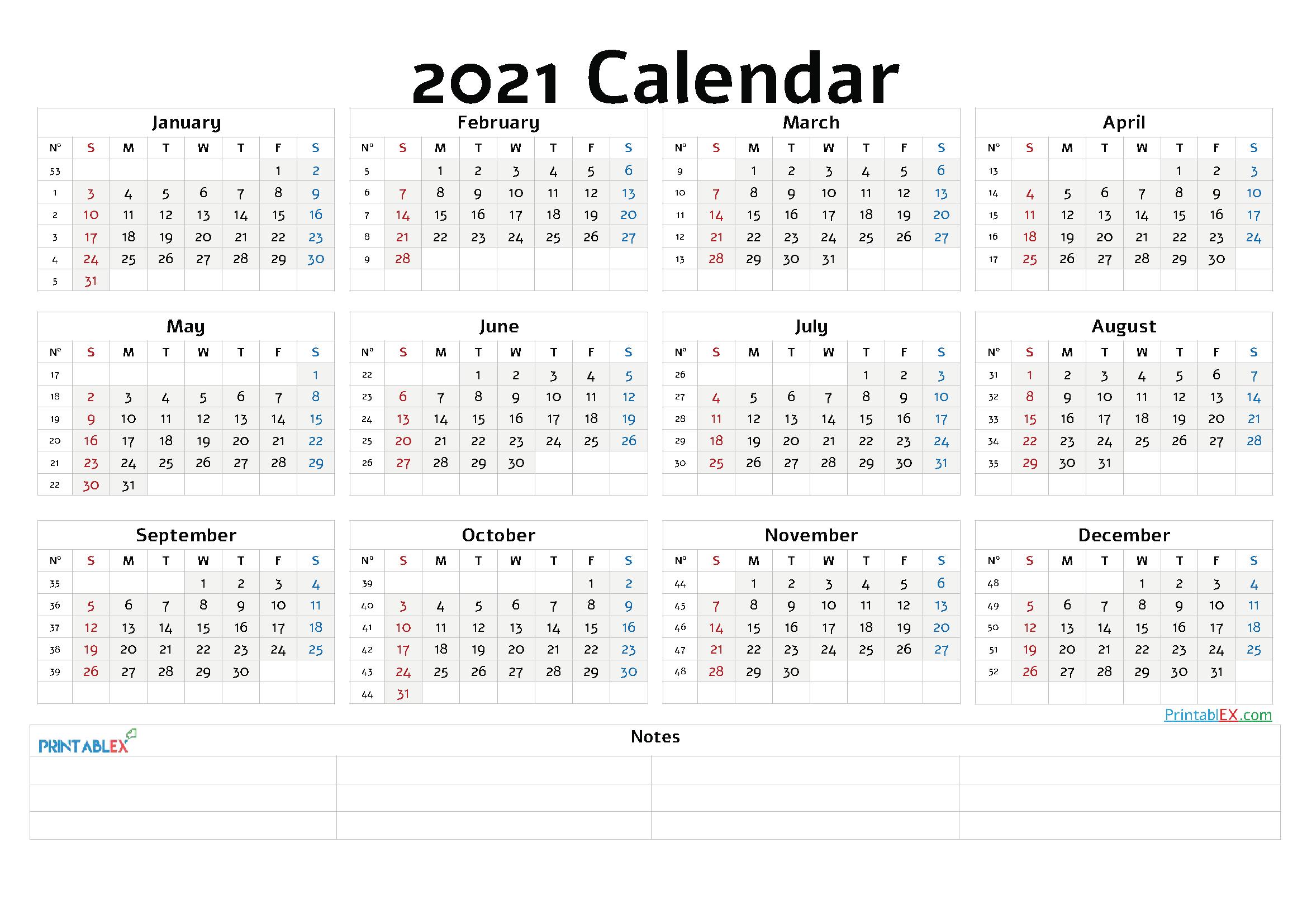 Free Editable Weekly 2021 Calendar  Printable 2021