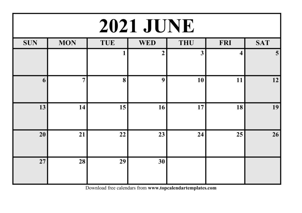Free June 2021 Calendar Printable - Blank Templates