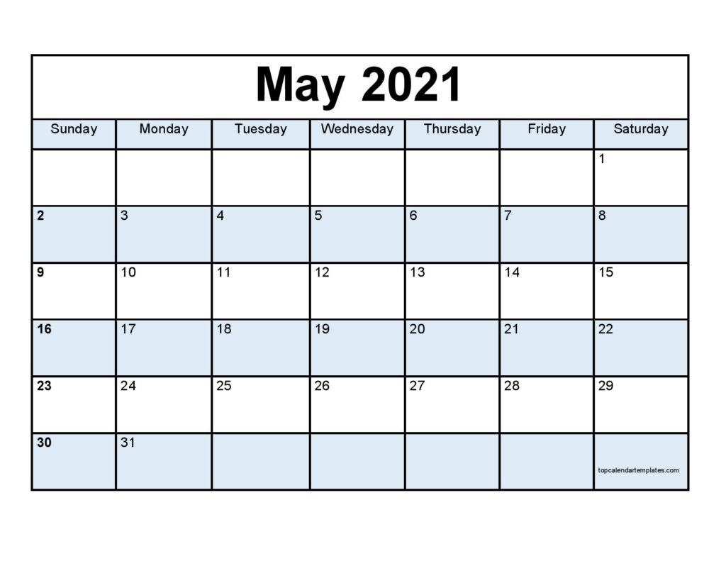 Free May 2021 Printable Calendar - Monthly Templates