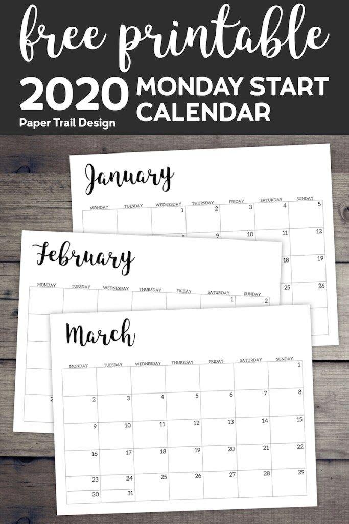 Free Printable 2020 Calendar - Monday Start   Free