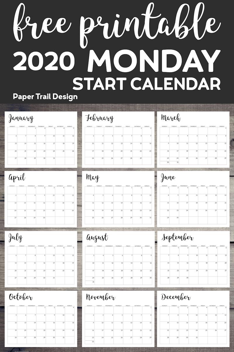 Free Printable 2020 Calendar - Monday Start   Paper Trail
