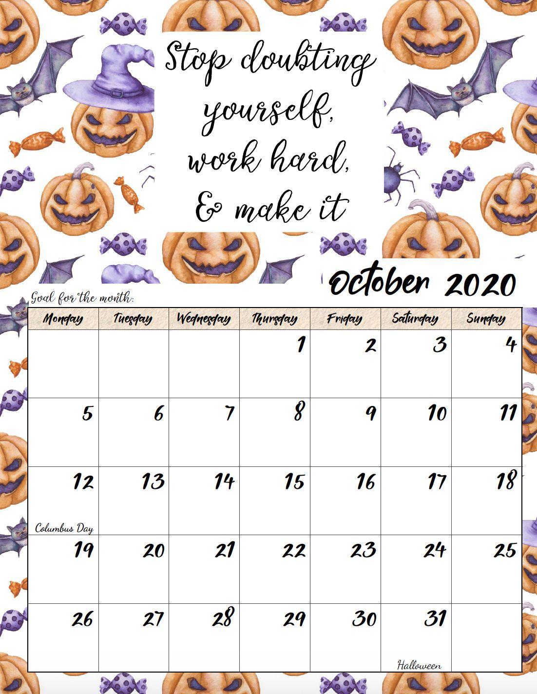 Free Printable 2020 Monday Start Monthly Motivational
