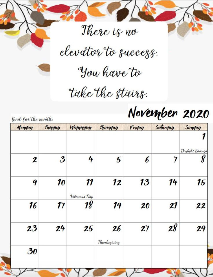 Free Printable 2020 Monday Start Monthly Motivational Calendars | Free Printable Calender Free