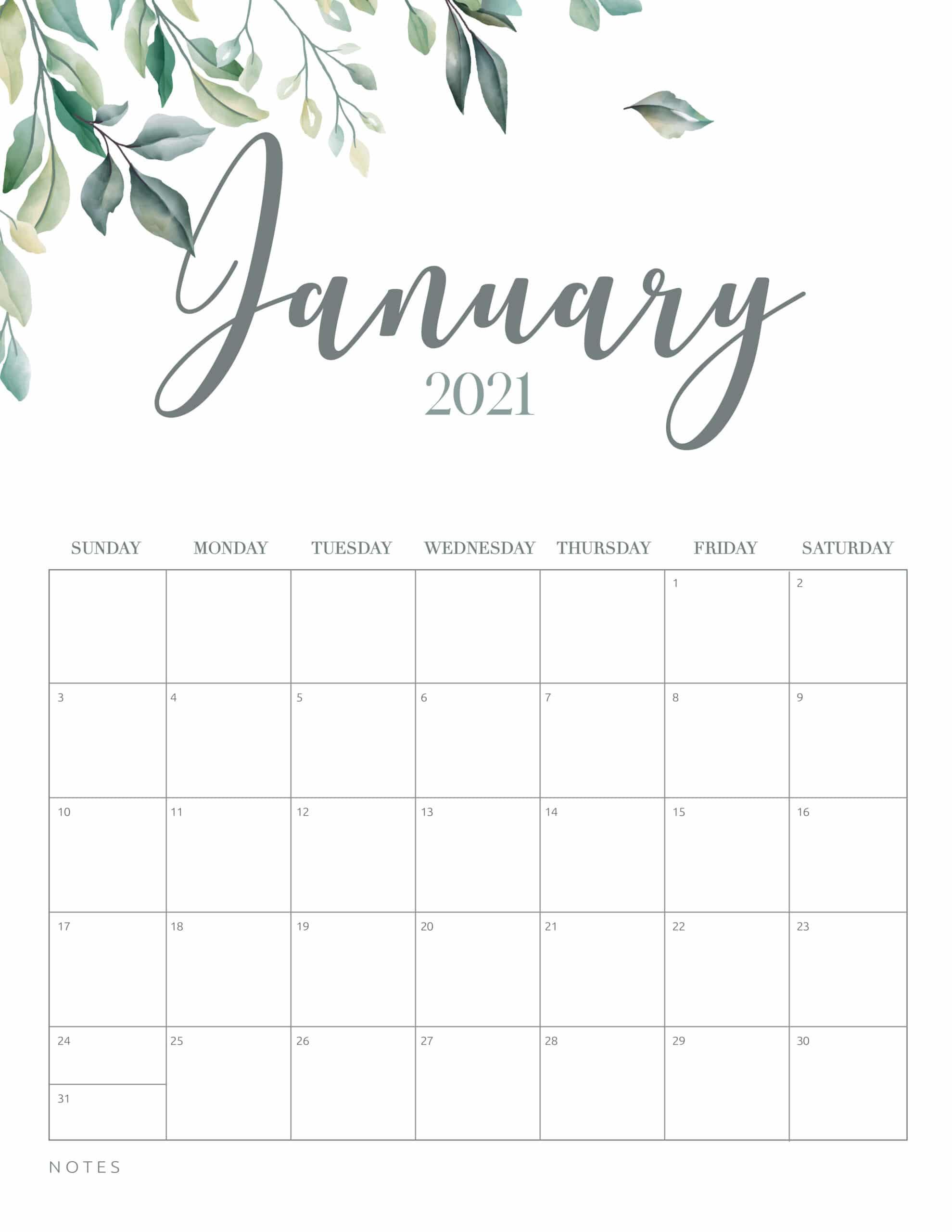 Free Printable 2021 Calendar Botanical Style - World Of