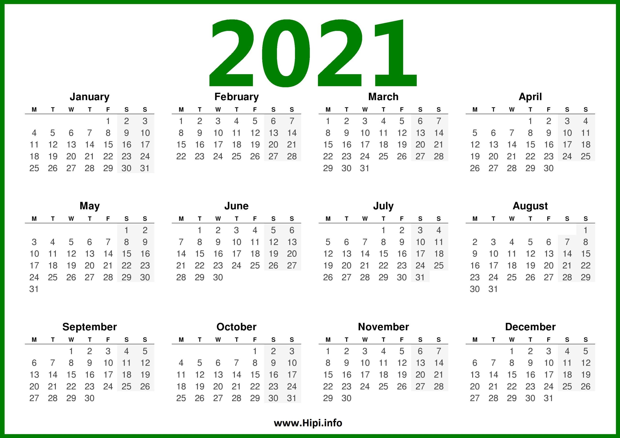 Free Printable 2021 Calendar Starting Monday   2021 Printable Calendars