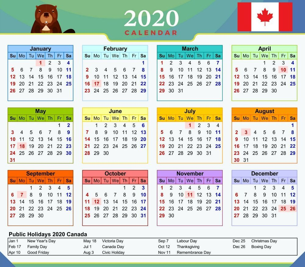 Free Printable 2021 Calendar With Canadian Holidays | 2021