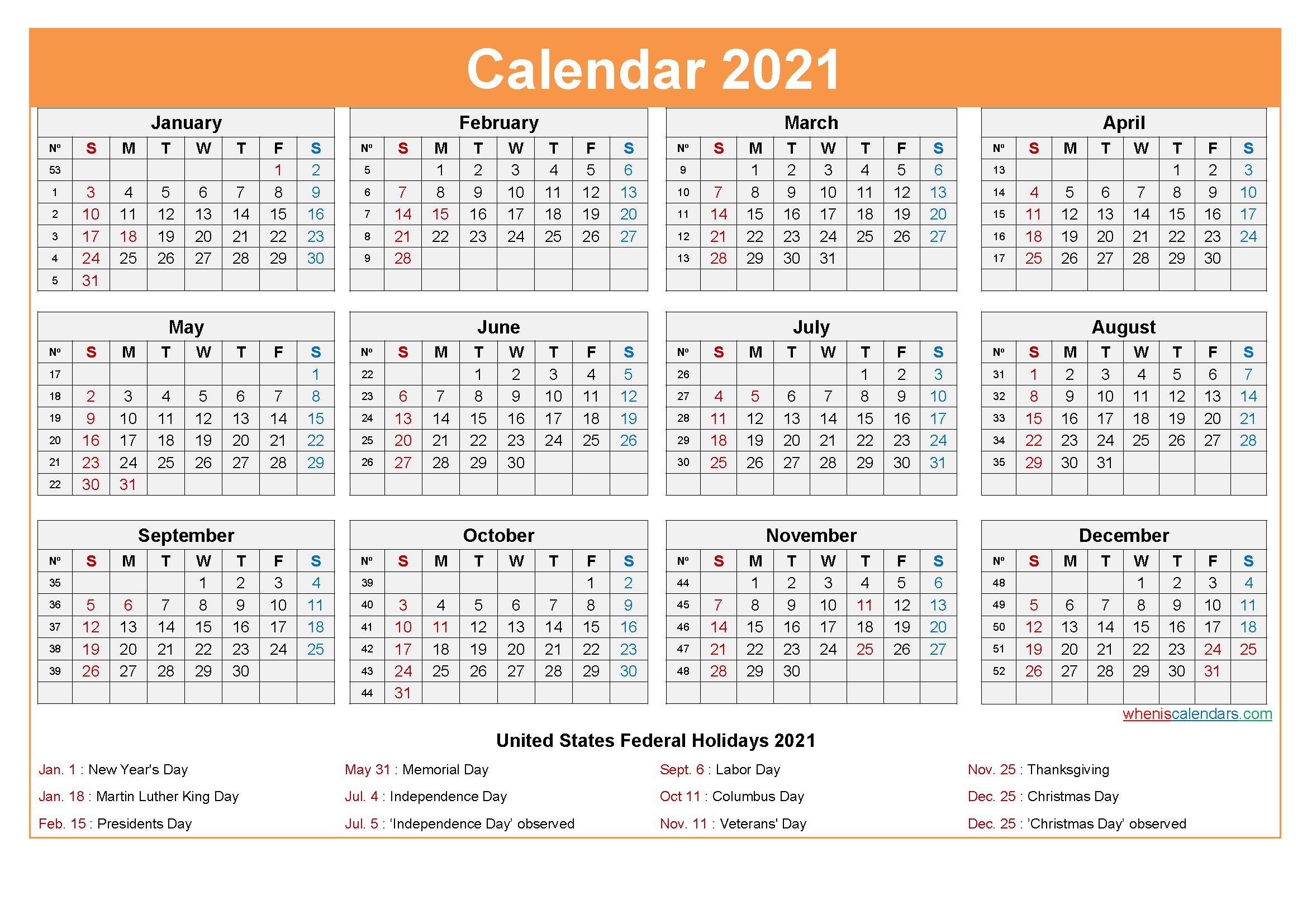 Free Printable 2021 Calendar With Holidays As Word Pdf