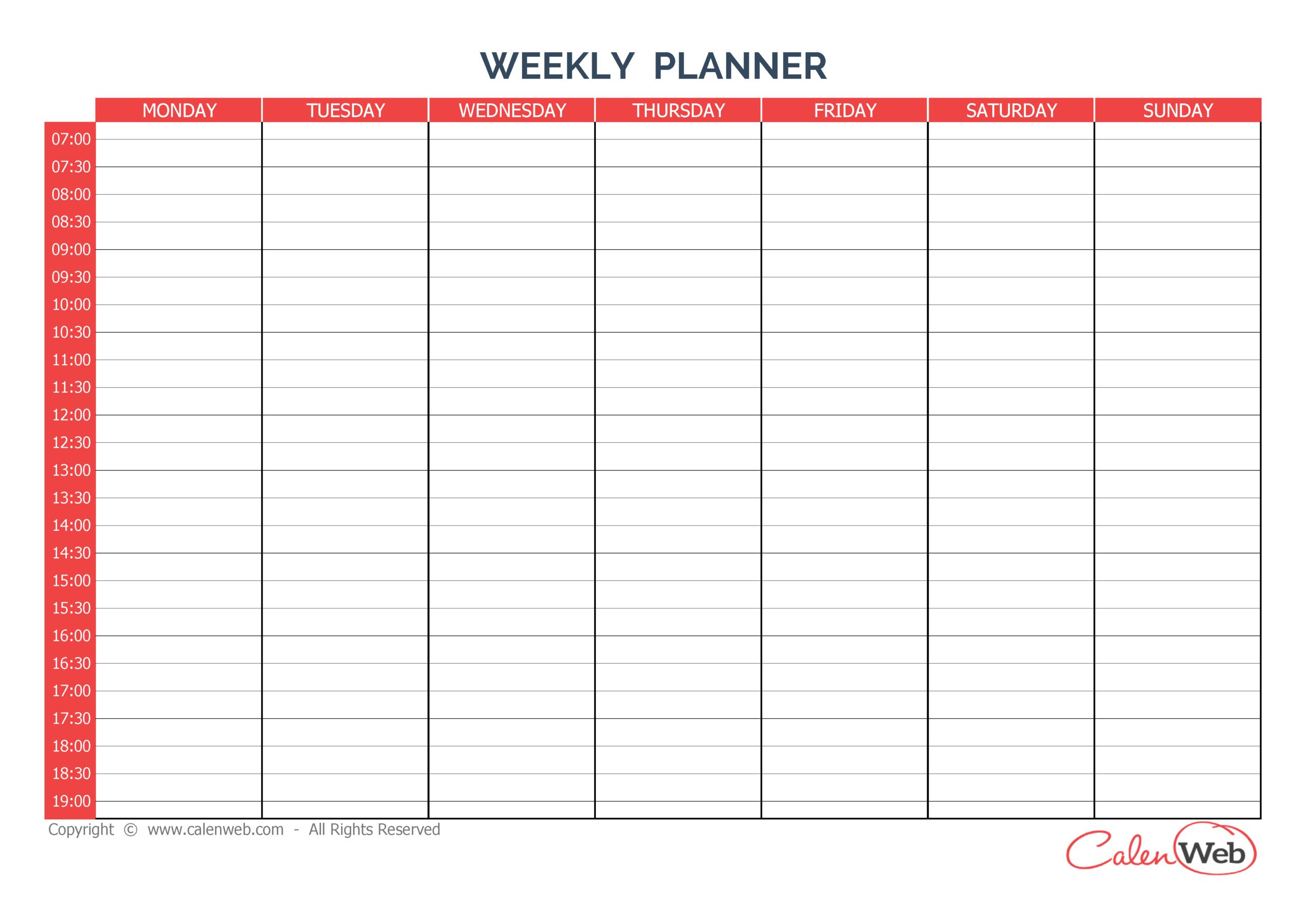 Free Printable 7 Day Weekly Calendar   Calendar Printables