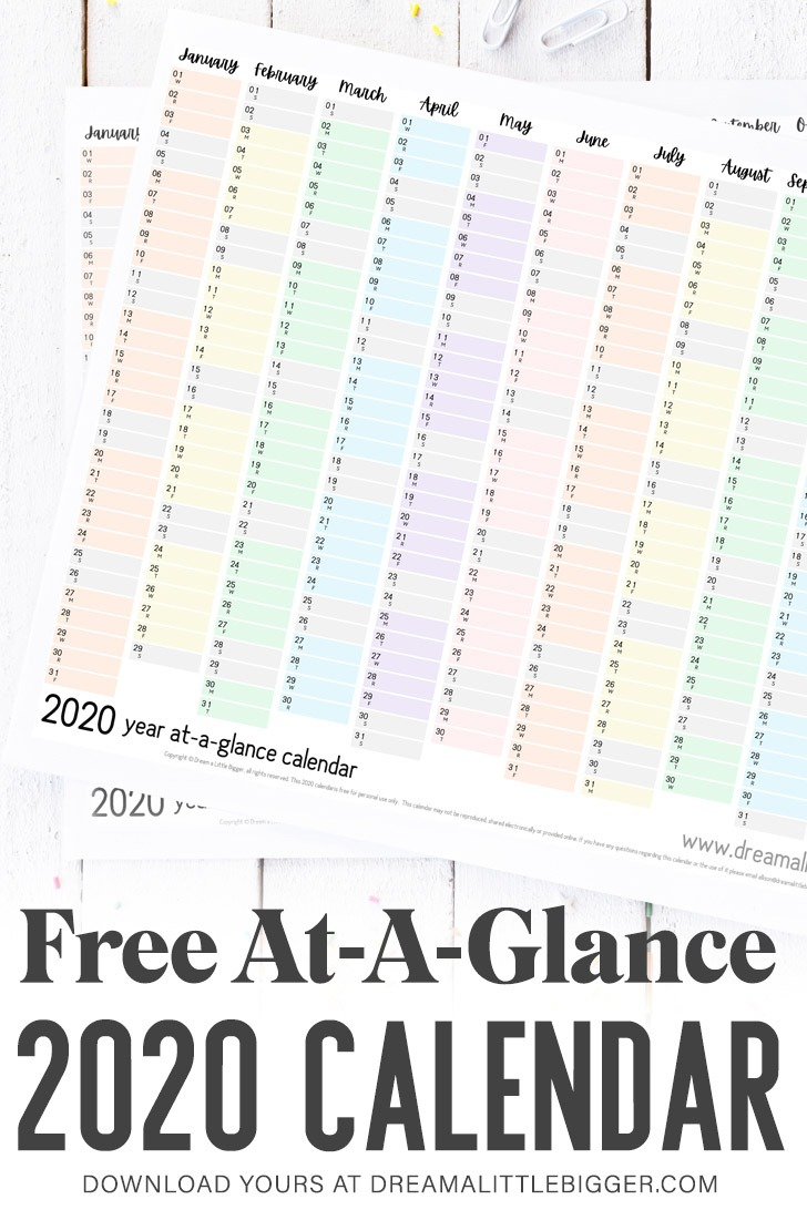 Free Printable At-A-Glance Calendar ⋆ Dream A Little Bigger