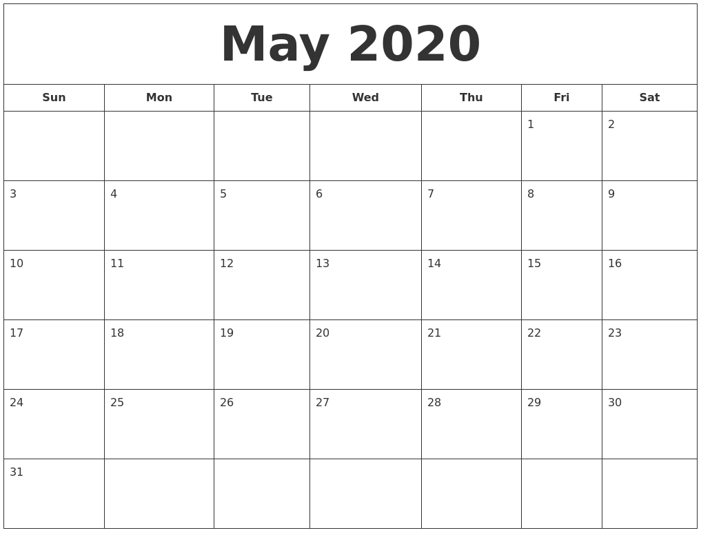 Free Printable Calendar With Large Boxes   Ten Free Printable Calendar 2020-2021