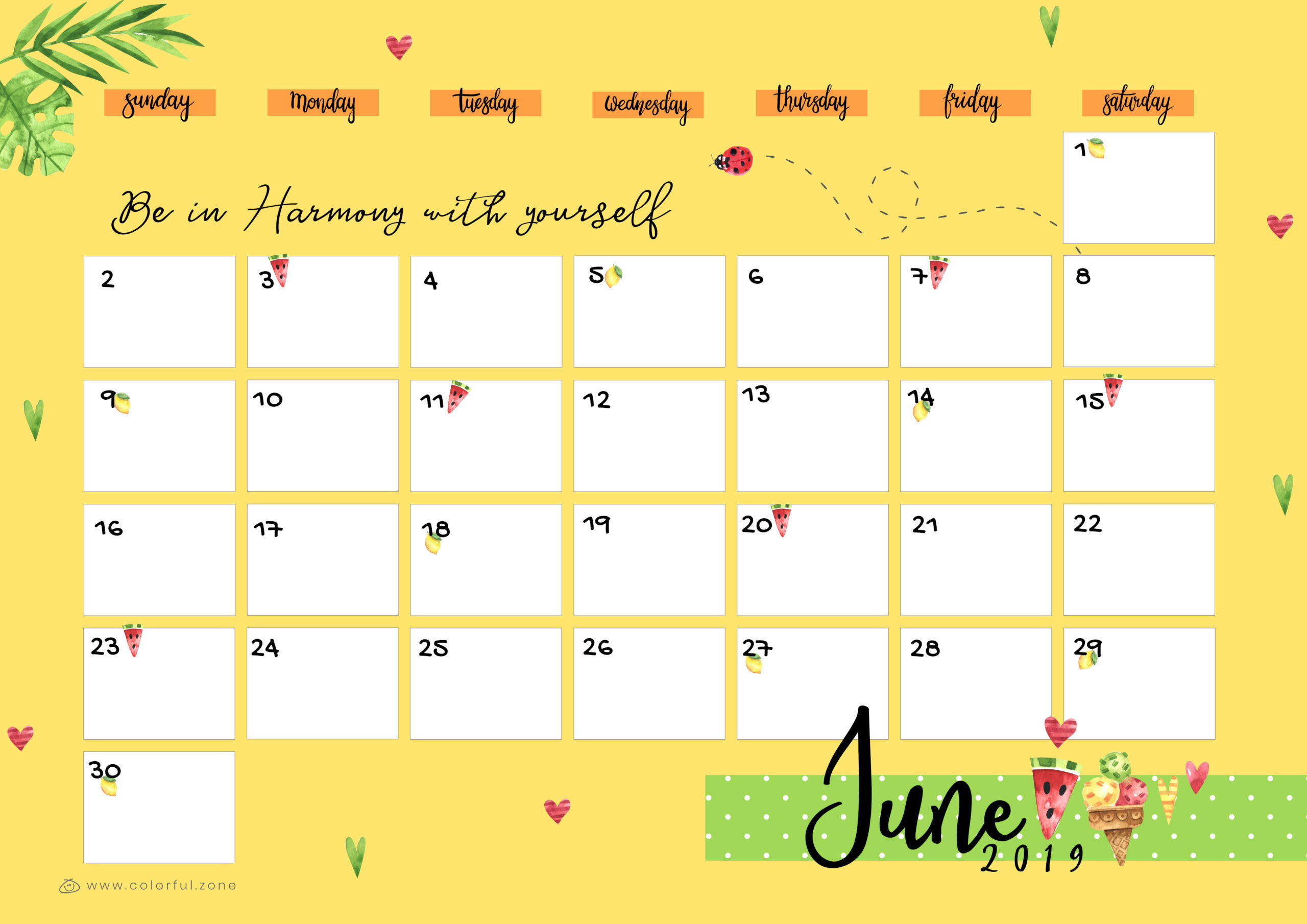Free Printable Colorful Calendar 2019   Colorful Zone