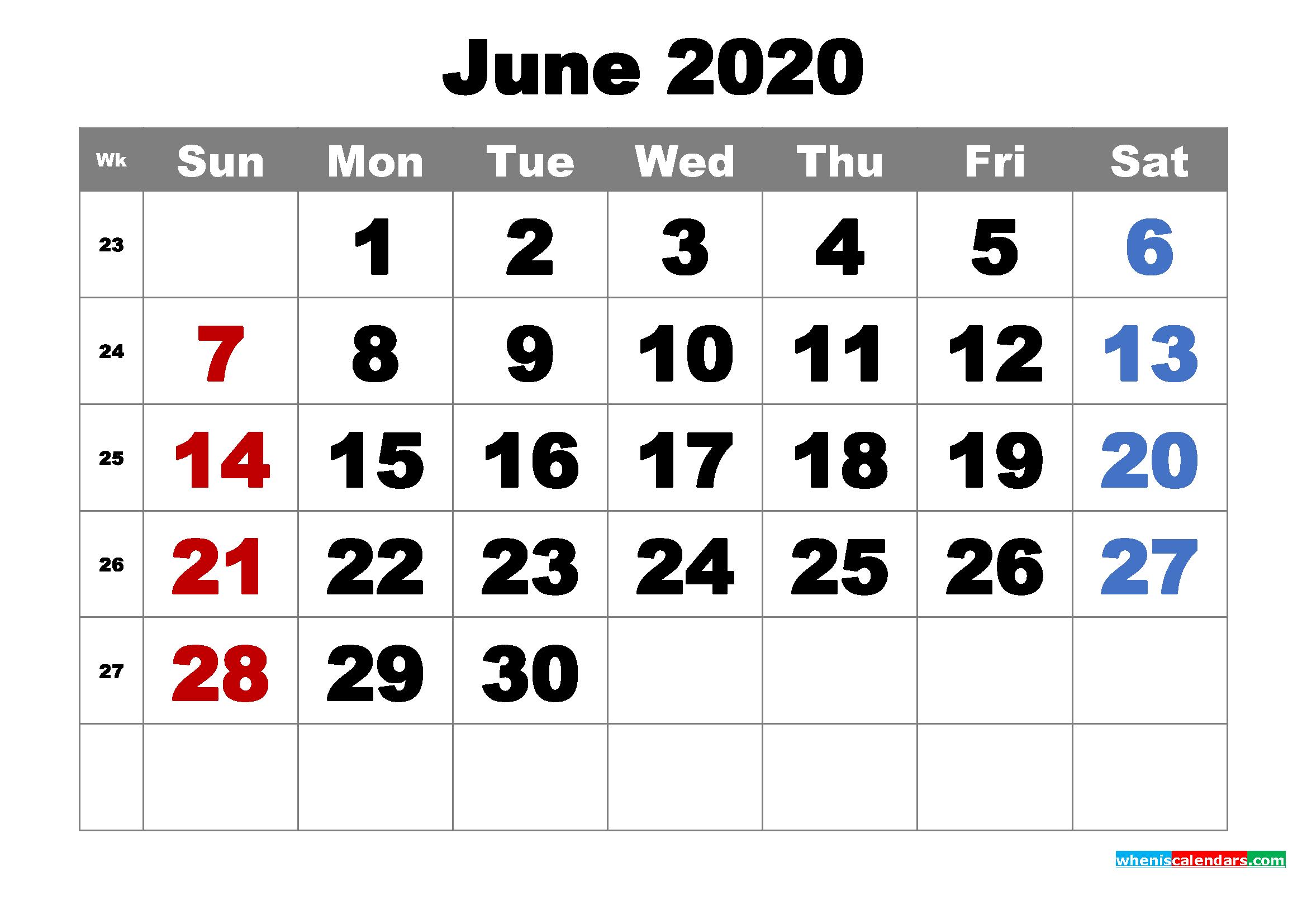 Free Printable June 2020 Calendar Word Pdf Image
