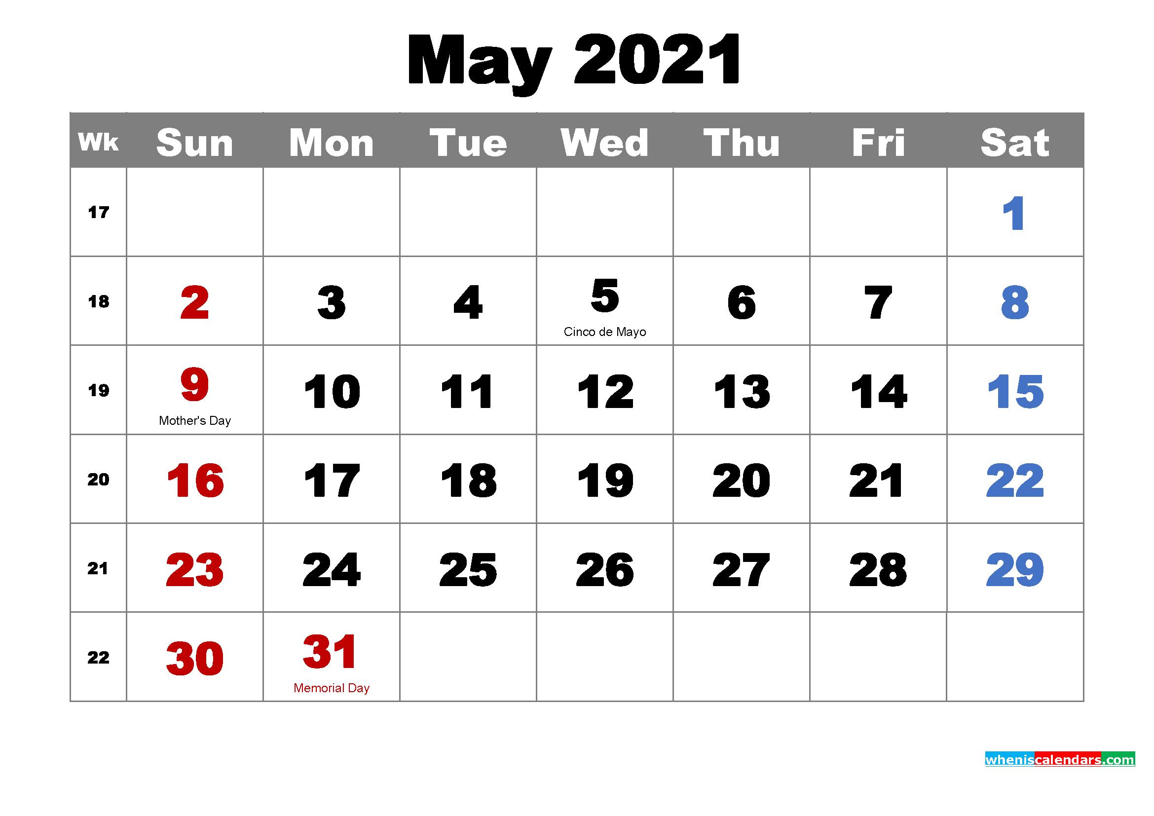 Free Printable May 2021 Calendar With Holidays As Word Pdf