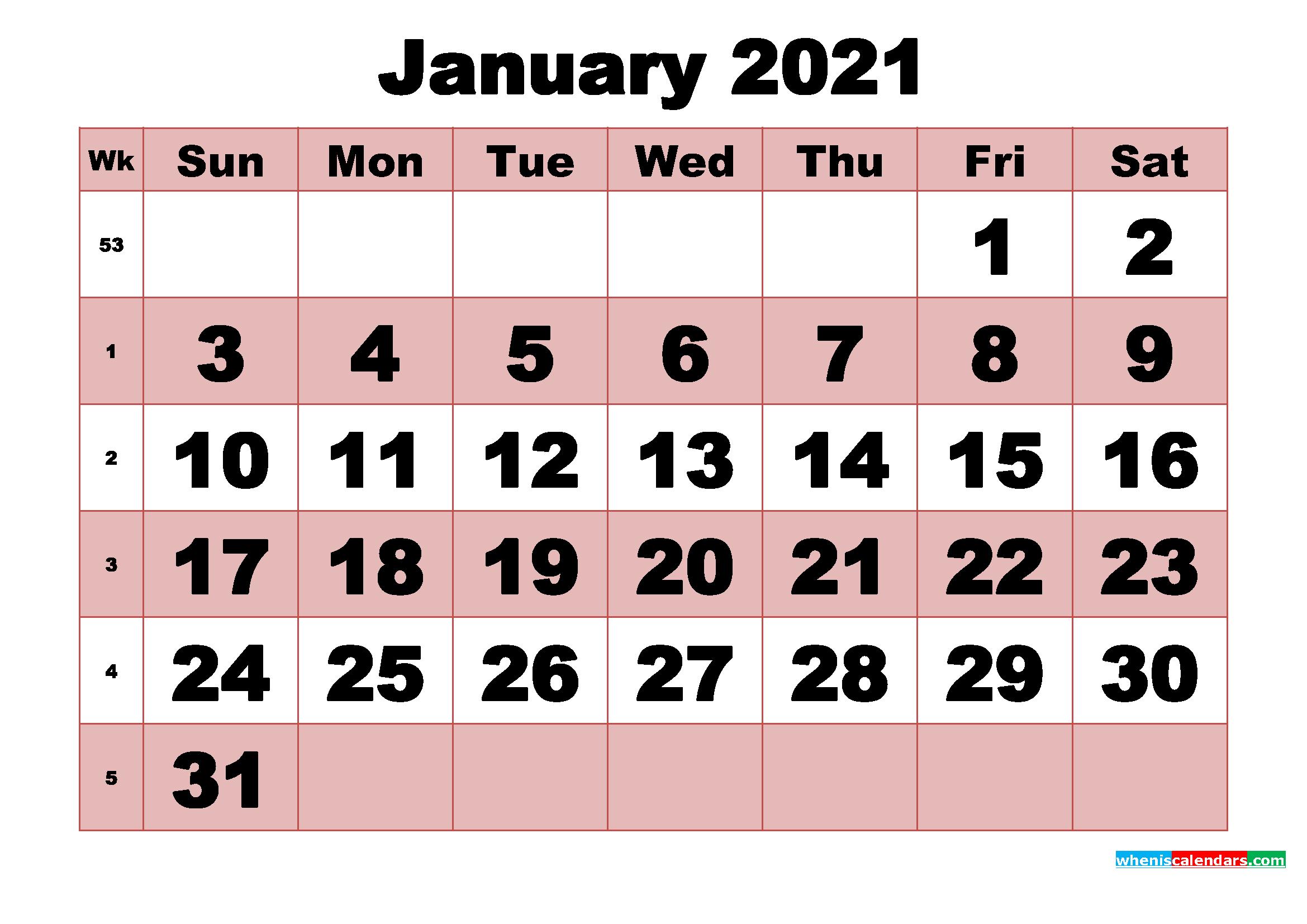 Free Printable Monthly Calendar January 2021 | Free