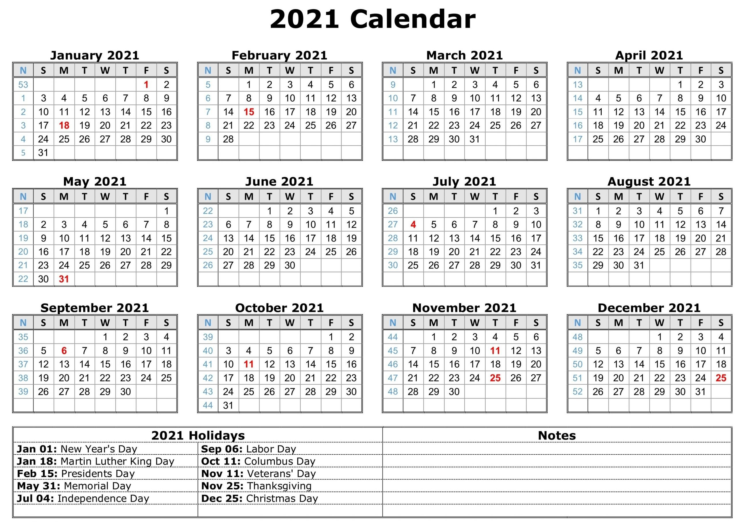 Free Printable Monthly Calendar With Holidays 2021