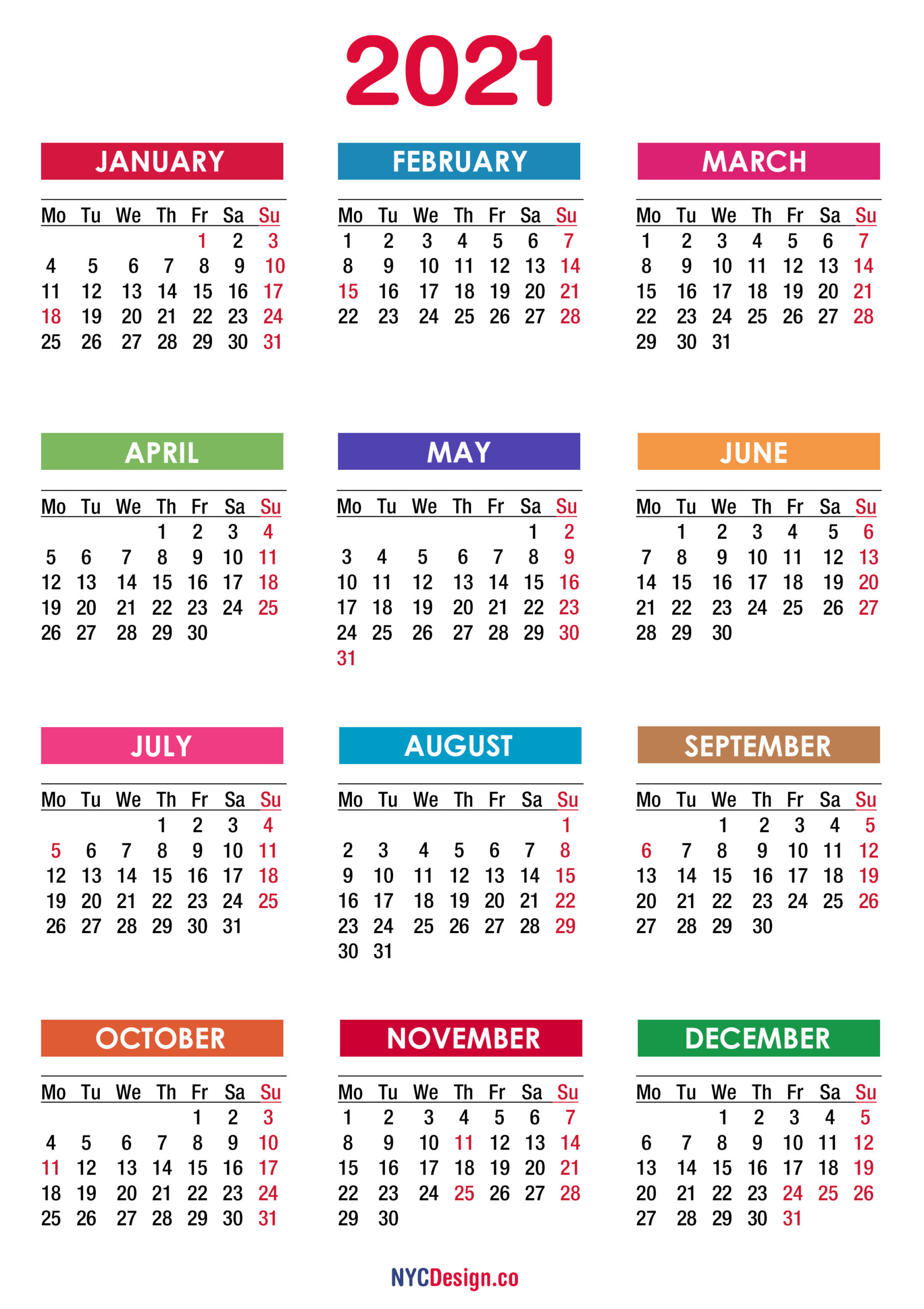 Free Printable Monthly Calendars Monday Start   Example