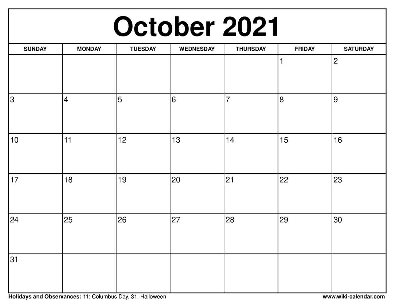 2021 October Calendar In Spanish