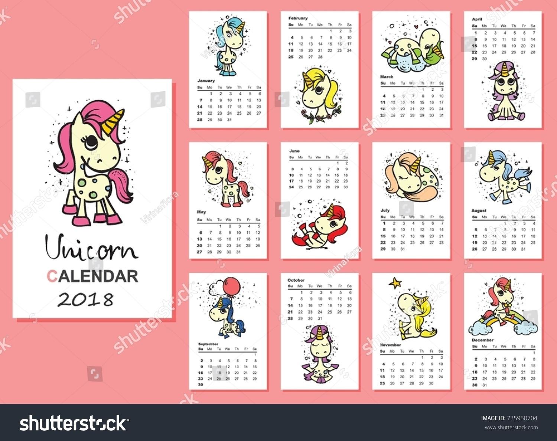 Free Printable Unicorn Calendar   Ten Free Printable