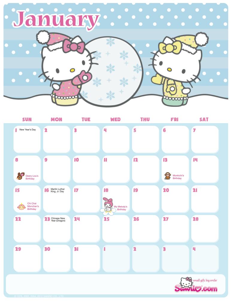 Hello Kitty Printable Calendar - Calendar Template 2021