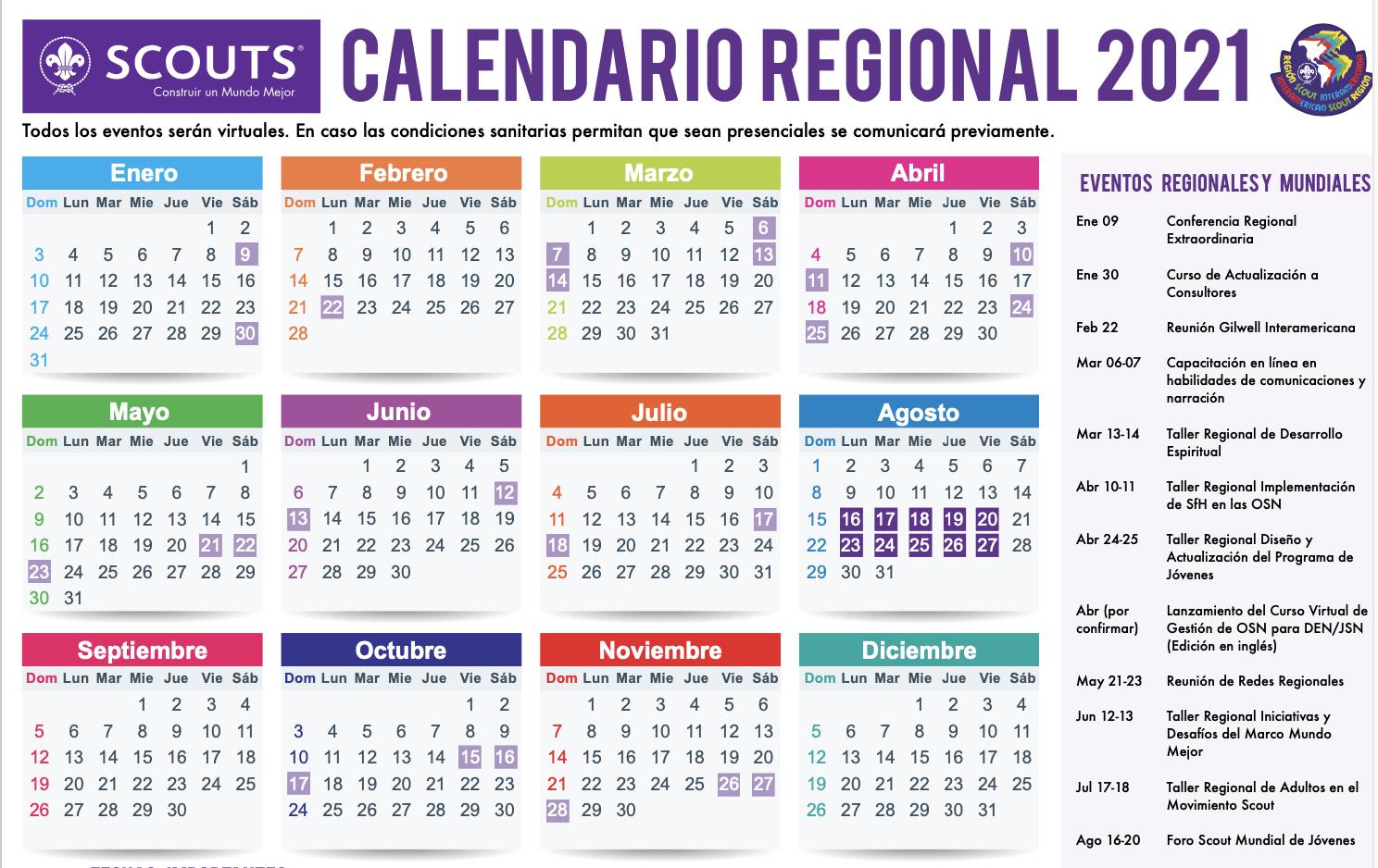 Interamerica Calendar 2021 Calendario Para Interamérica