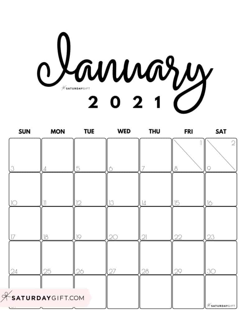 January 2021 Calendar Printable Free Monthly : Cute