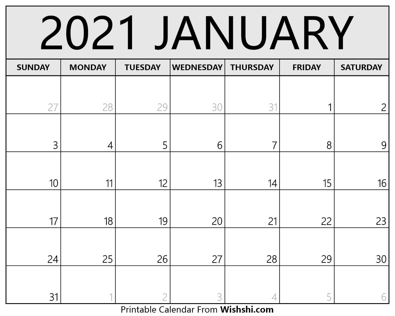 January 2021 Calendar Printable - Free Printable Calendars