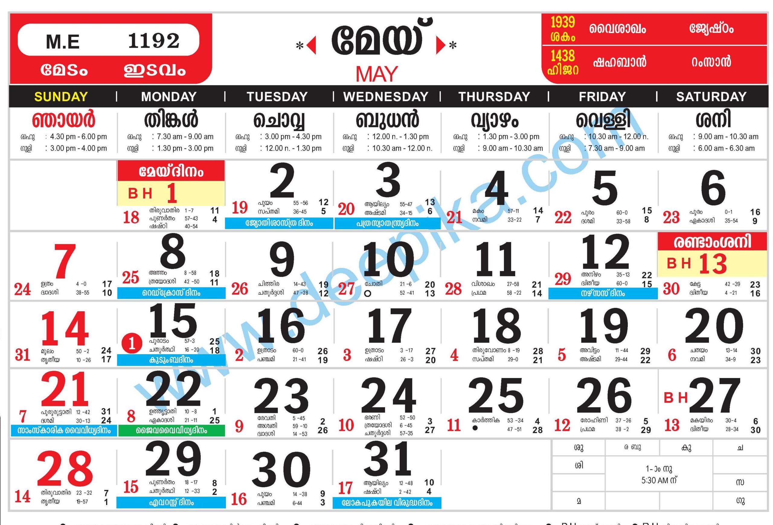January 2021 Manorama 2021 Malayalam Calendar February