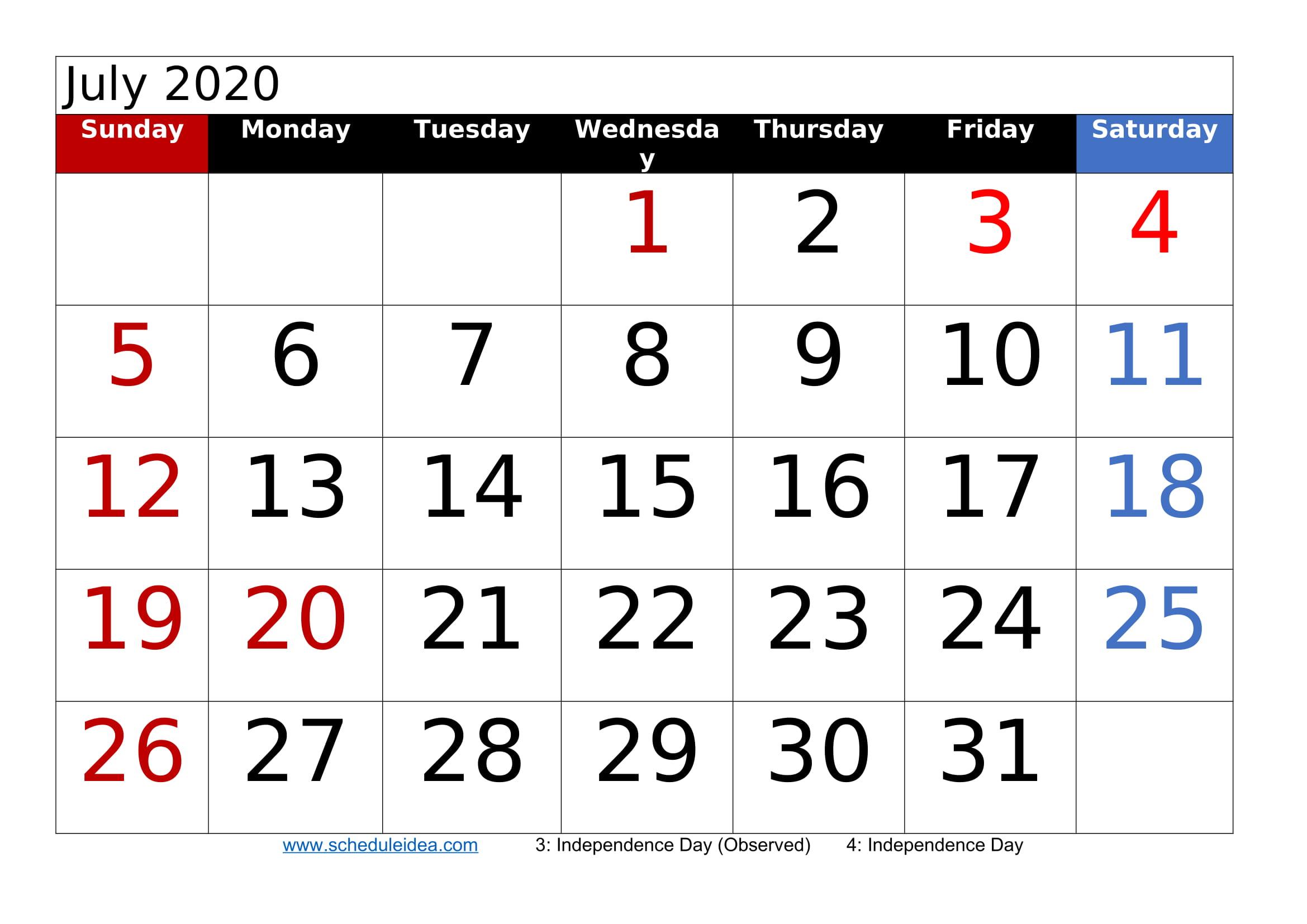 July 2020 Printable Calendar Templates (Pdf Word Excel)