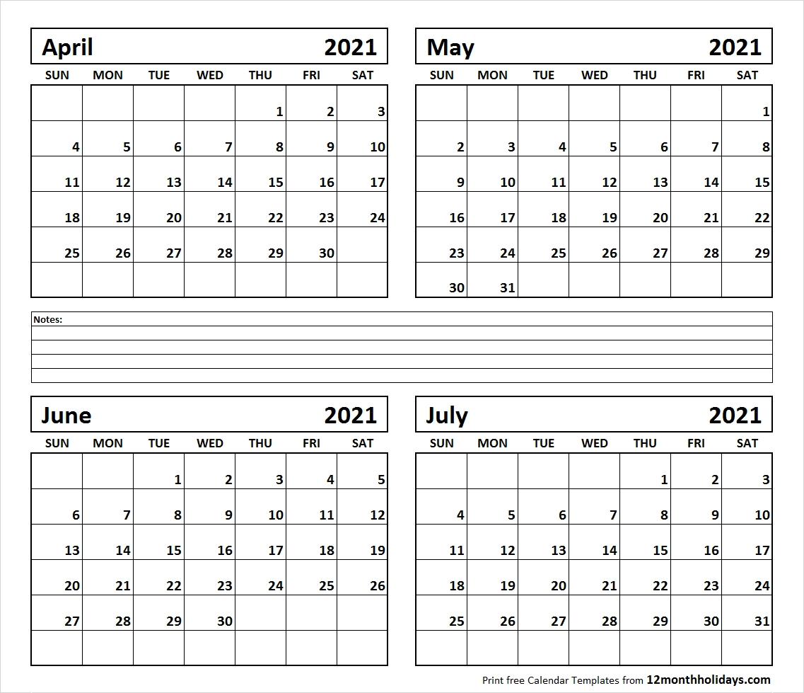 July 2021 12 Months - Template Calendar Design