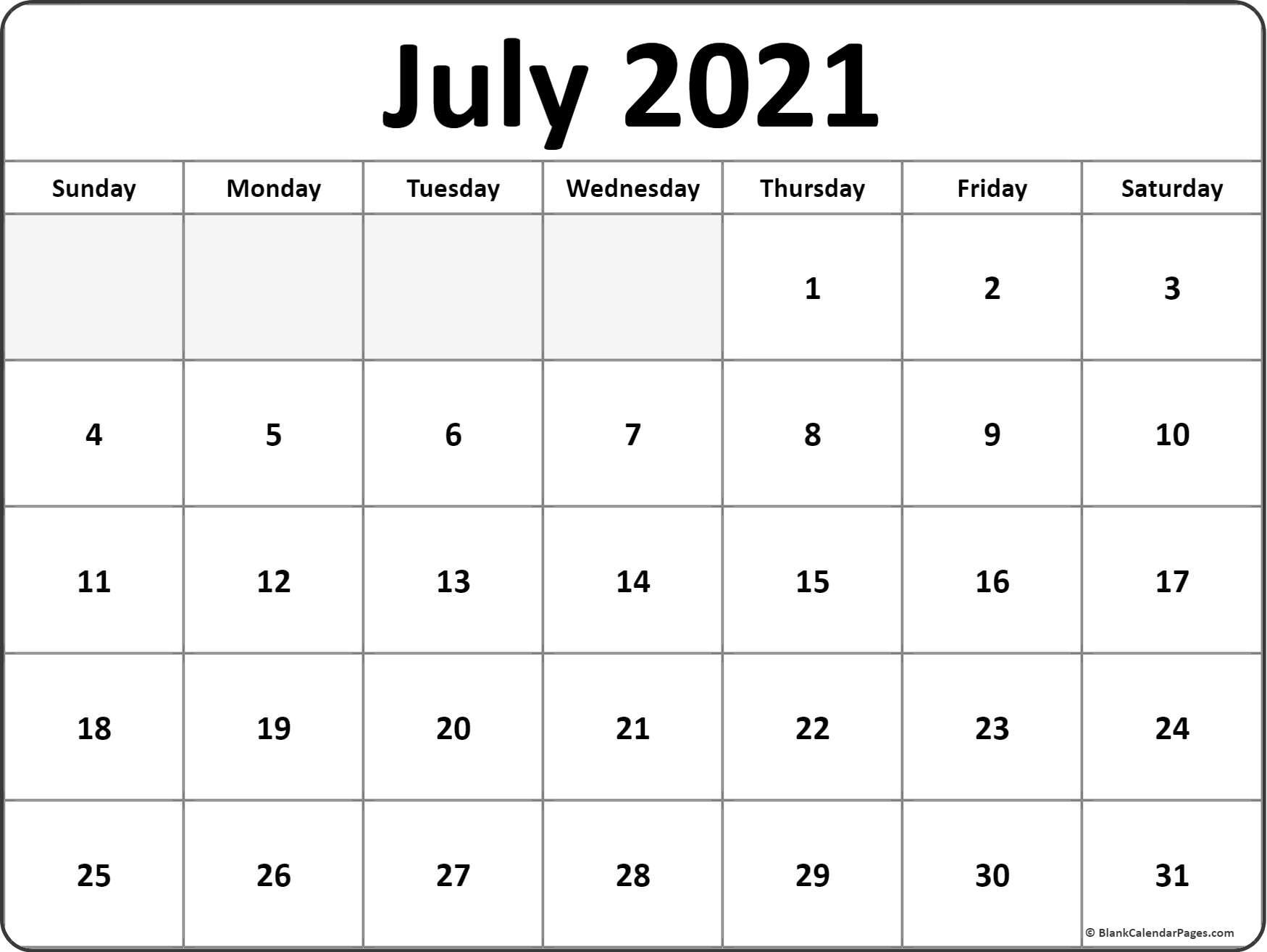 July 2021 Calendar | Free Printable Calendar Templates